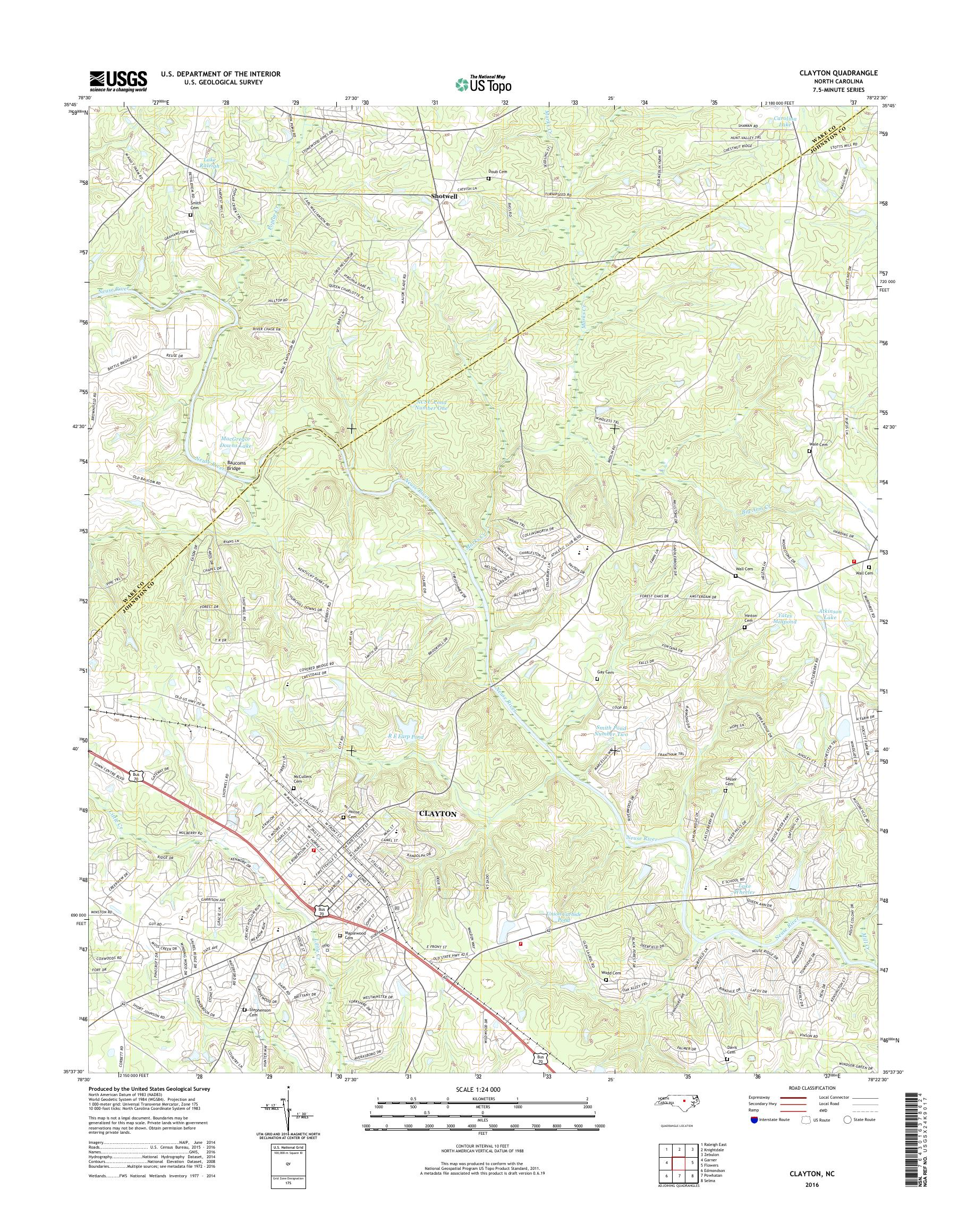 MyTopo Clayton, North Carolina USGS Quad Topo Map on