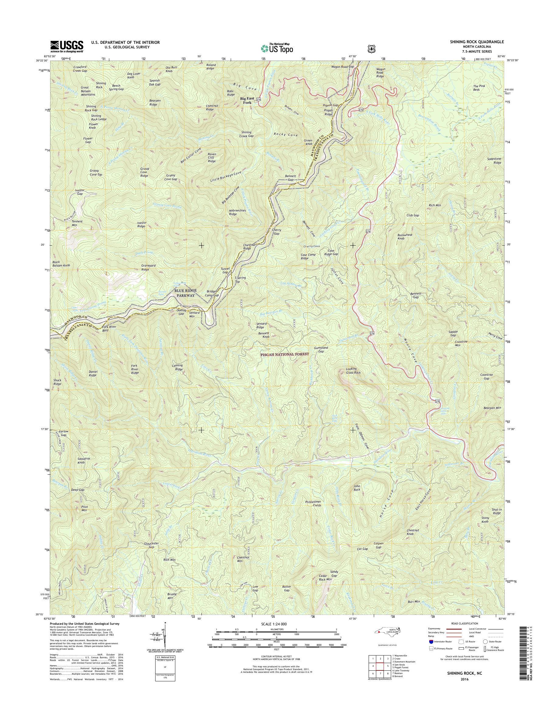 MyTopo Shining Rock, North Carolina USGS Quad Topo Map