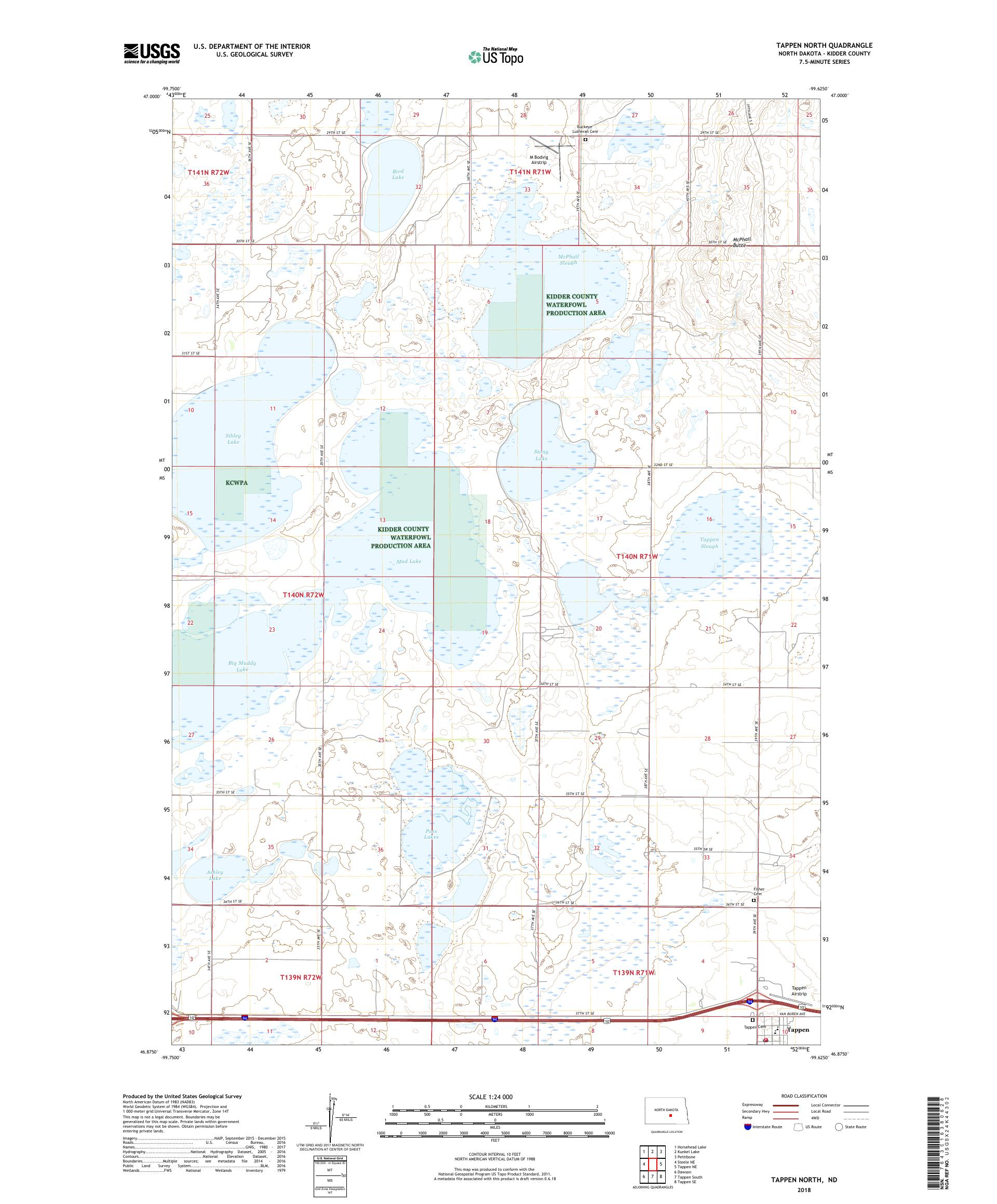Mytopo Tappen North North Dakota Usgs Quad Topo Map
