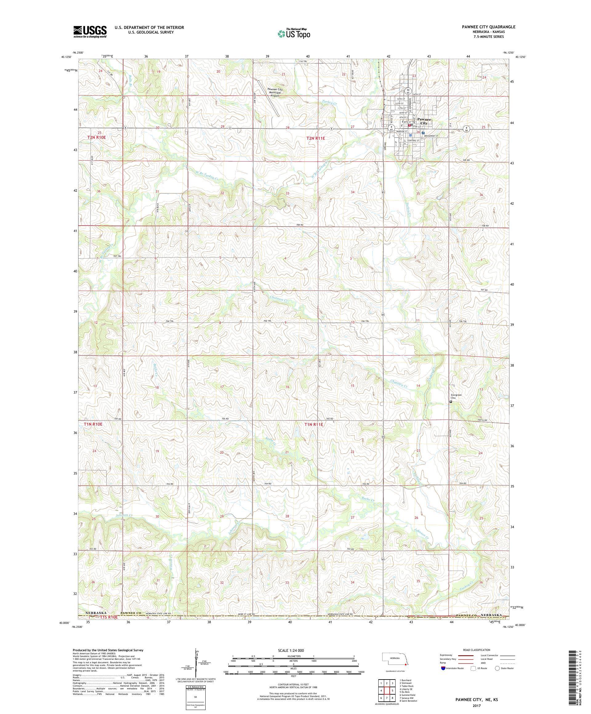 Pawnee City Nebraska >> Mytopo Pawnee City Nebraska Usgs Quad Topo Map