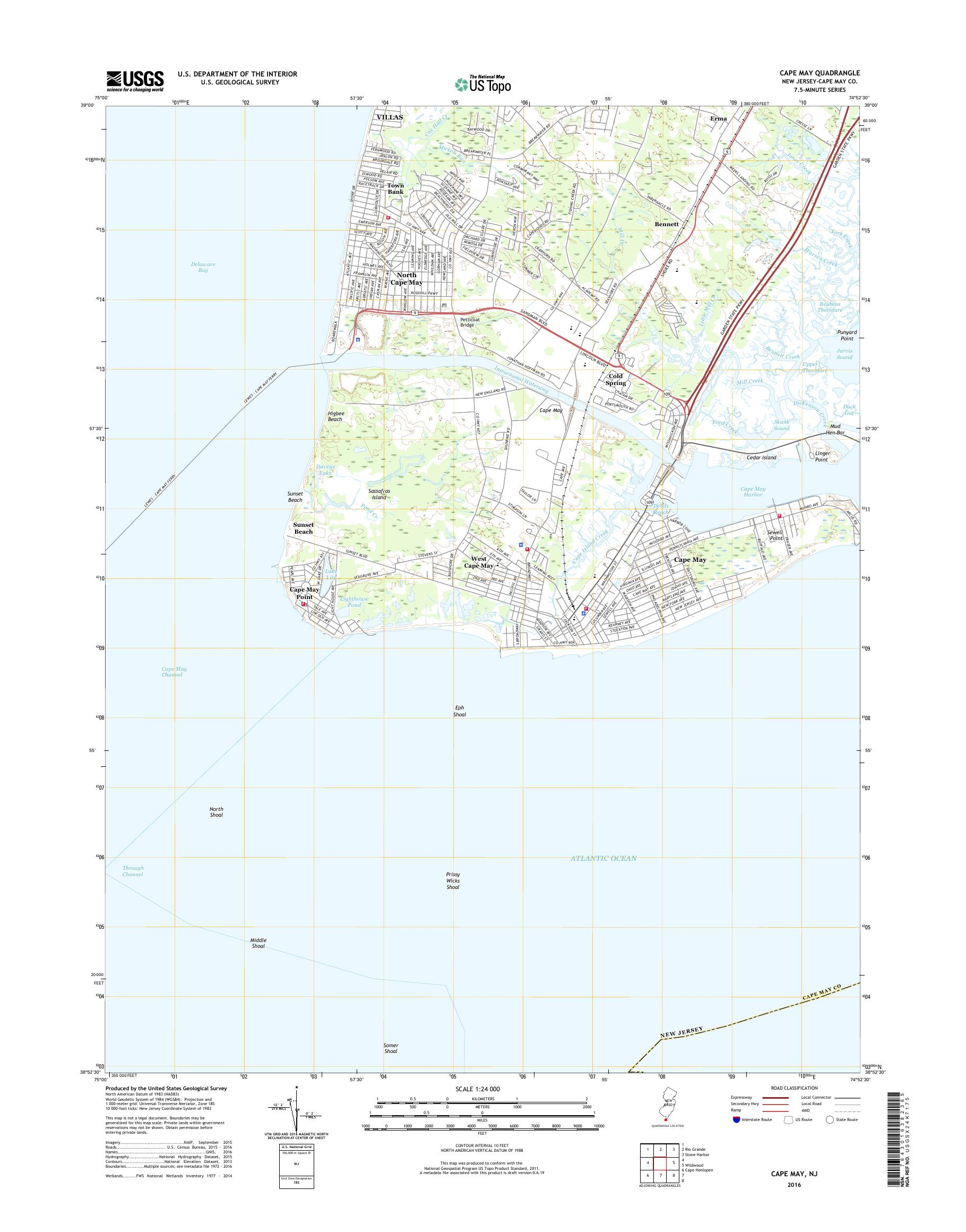 MyTopo Cape May, New Jersey USGS Quad Topo Map on