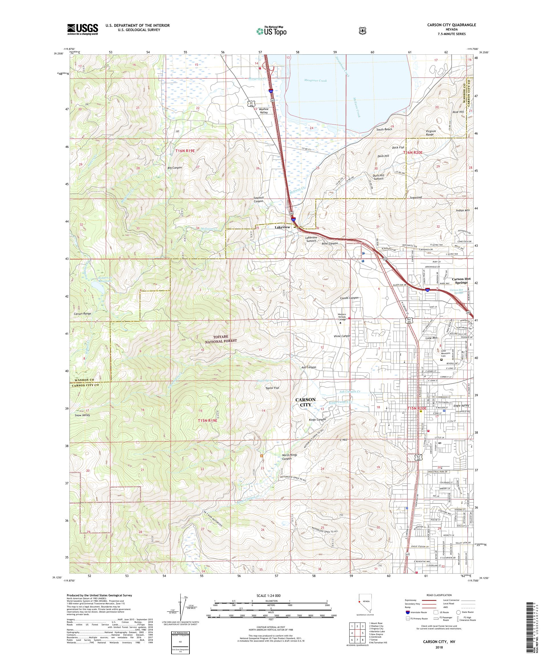 MyTopo Carson City, Nevada USGS Quad Topo Map