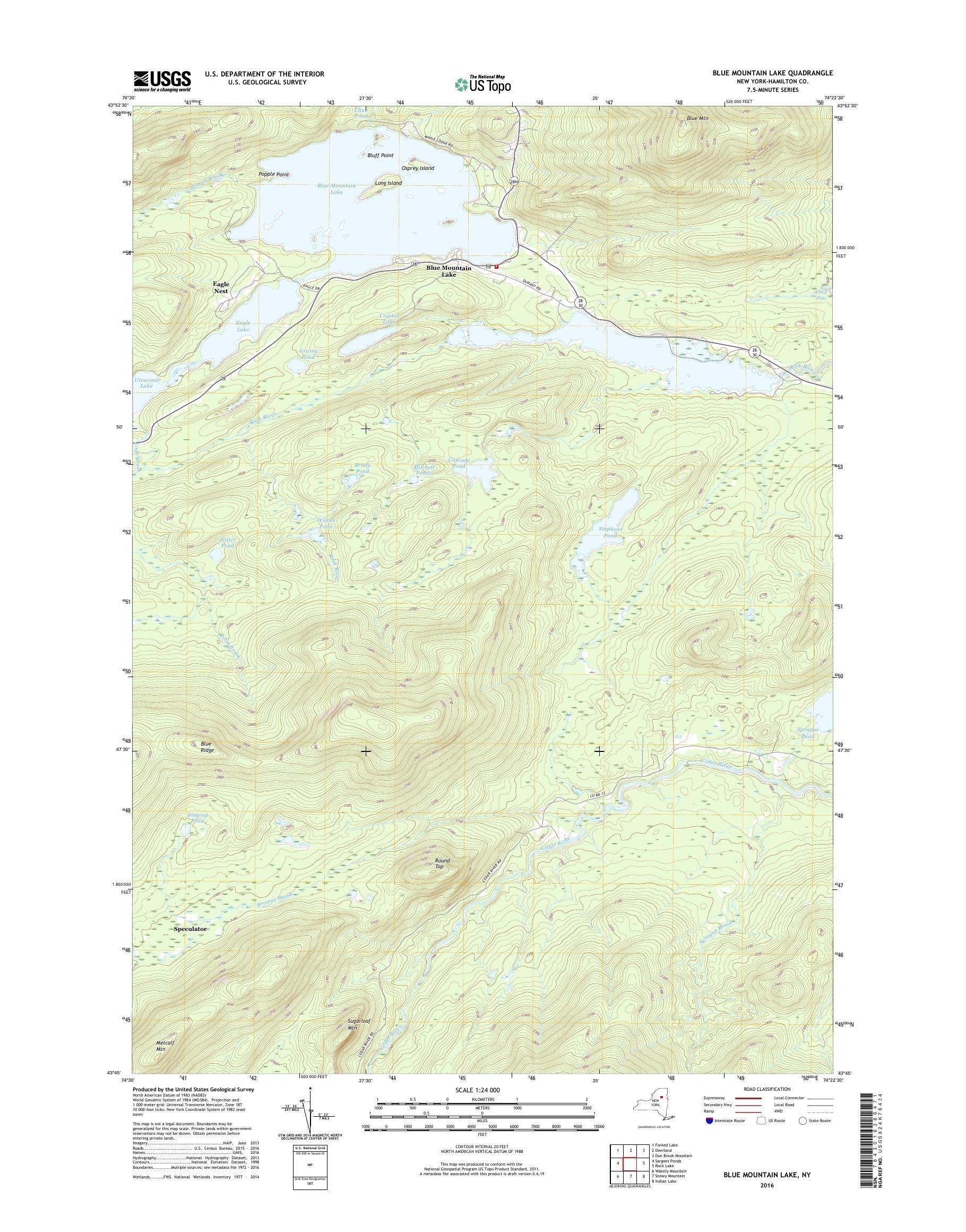 blue mountain lake ny map Mytopo Blue Mountain Lake New York Usgs Quad Topo Map blue mountain lake ny map