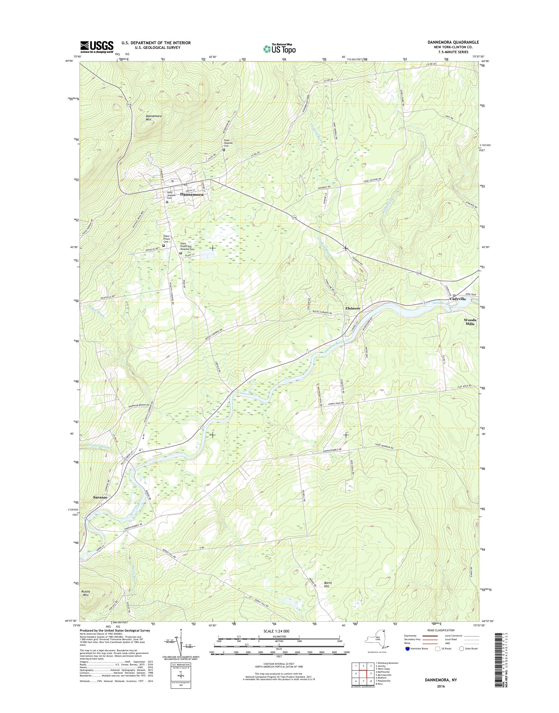 Map Of New York Dannemora.Mytopo Dannemora New York Usgs Quad Topo Map