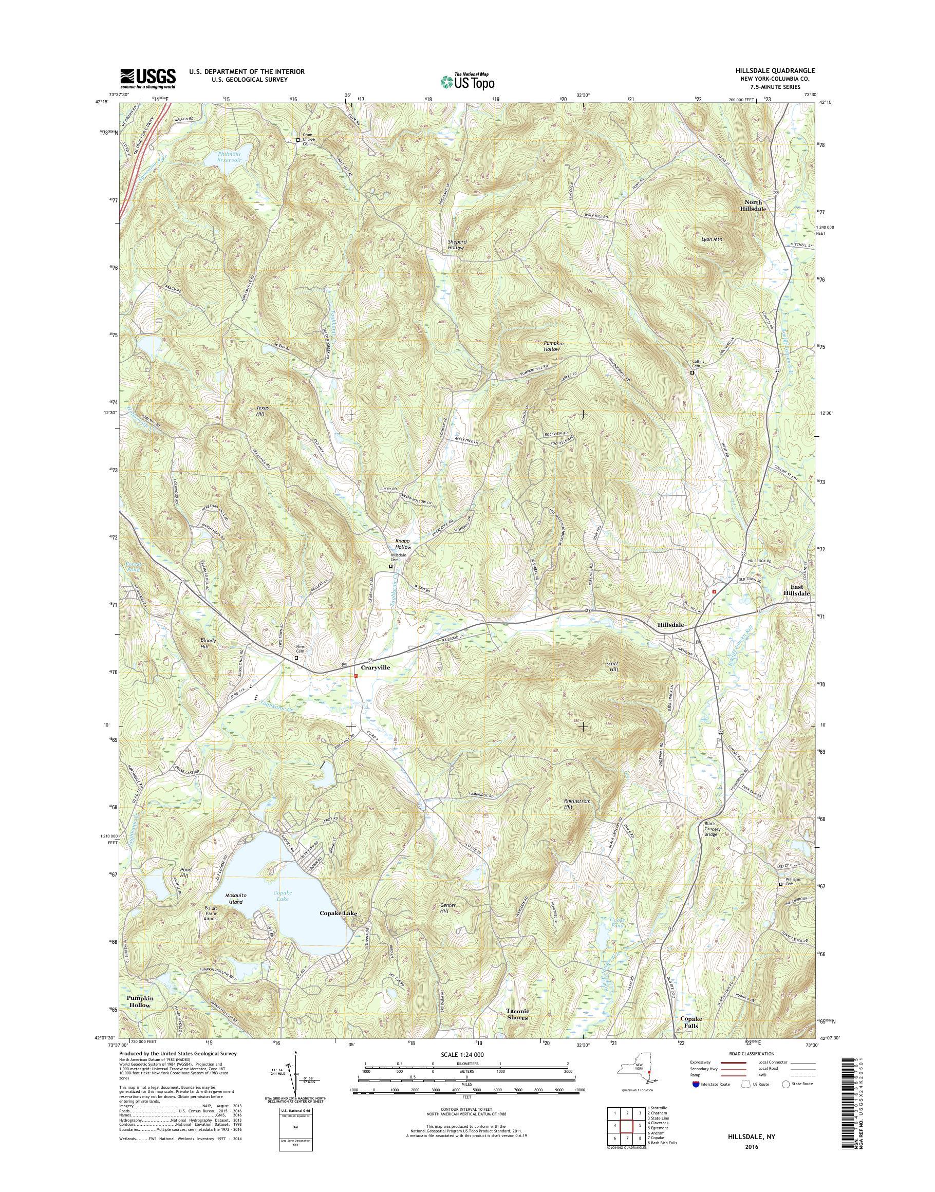 MyTopo Hillsdale, New York USGS Quad Topo Map