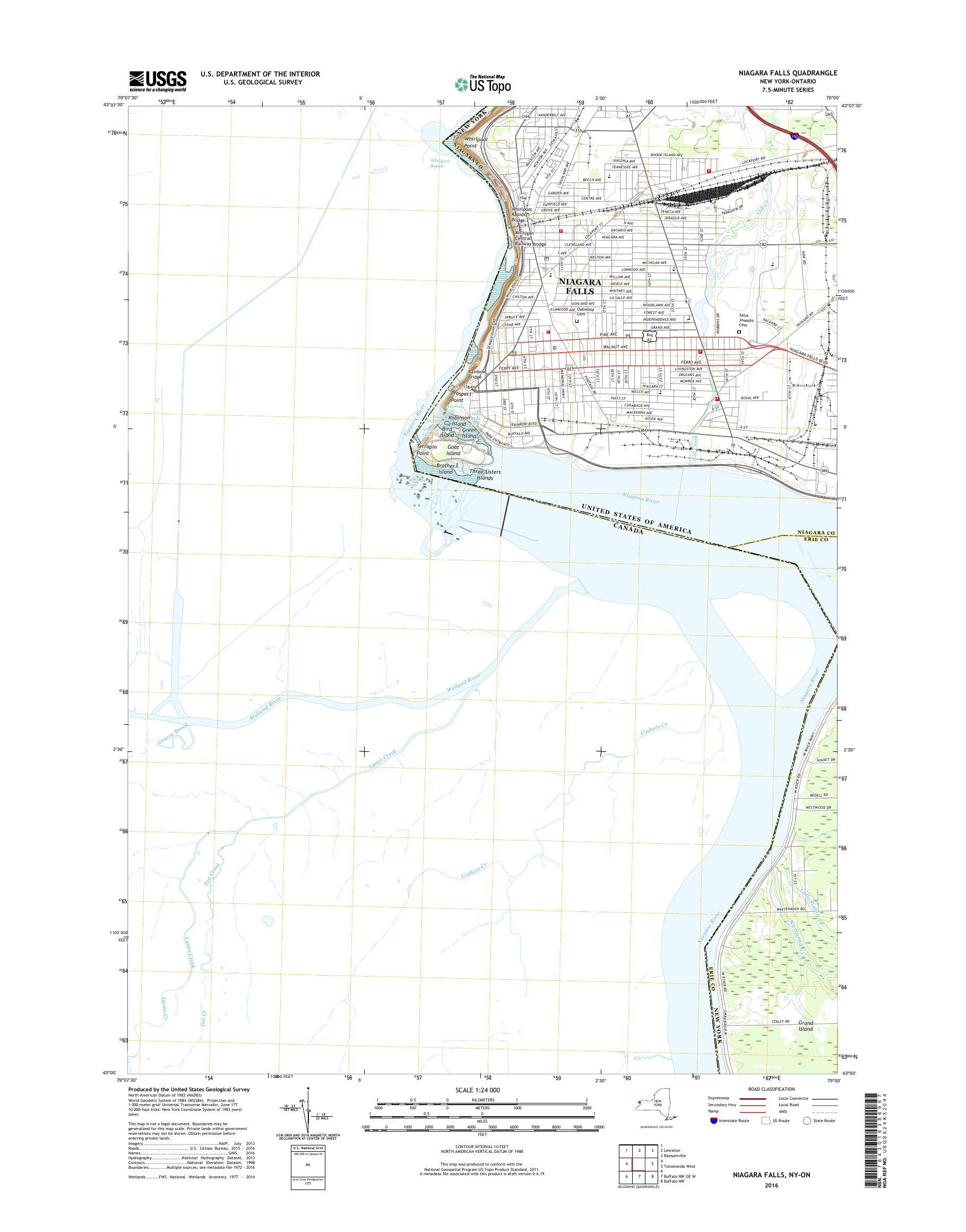 Mytopo Niagara Falls New York Usgs Quad Topo Map