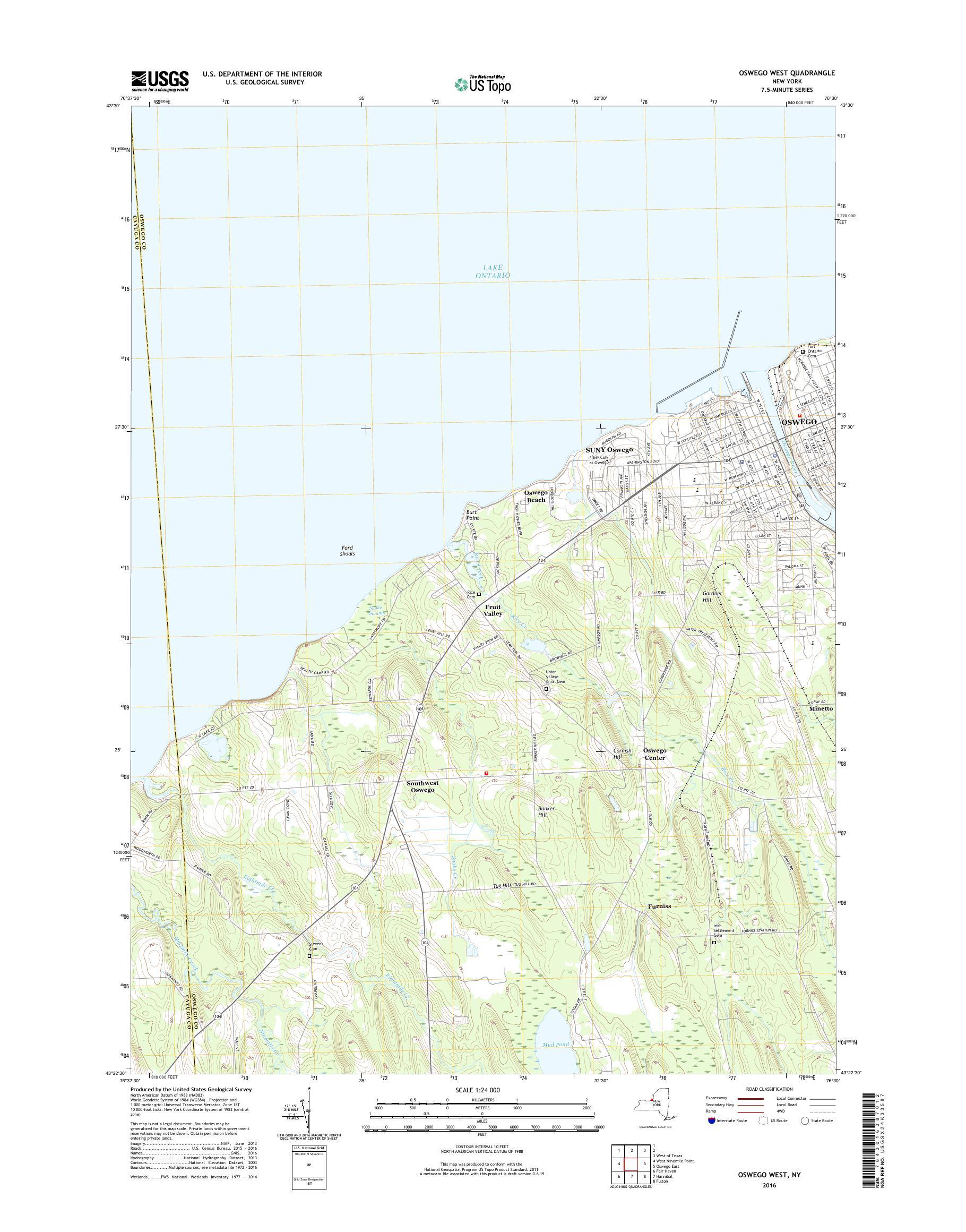 Map Of New York Oswego.Mytopo Oswego West New York Usgs Quad Topo Map