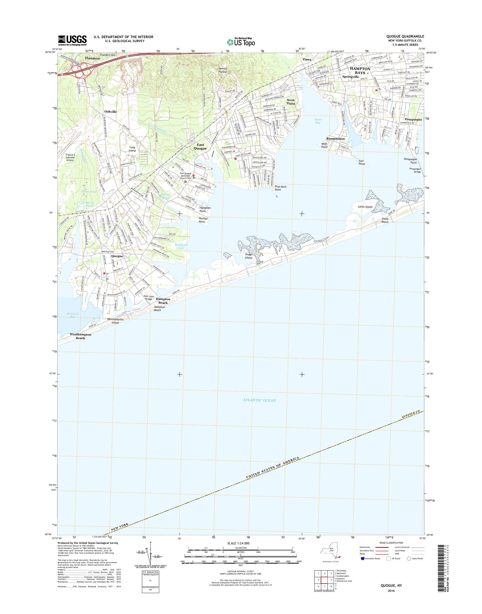 Map Of Quogue New York.Mytopo Quogue New York Usgs Quad Topo Map