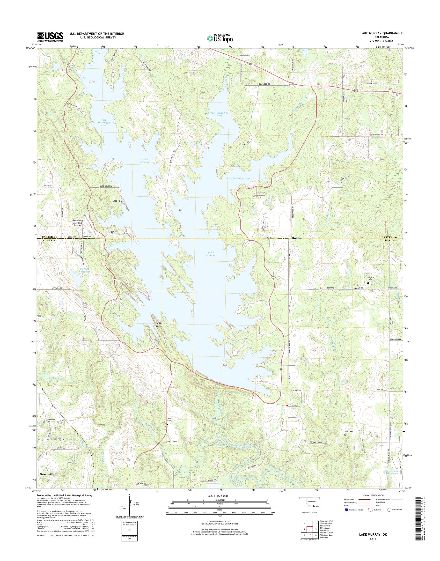 lake murray topographic map Mytopo Lake Murray Oklahoma Usgs Quad Topo Map lake murray topographic map