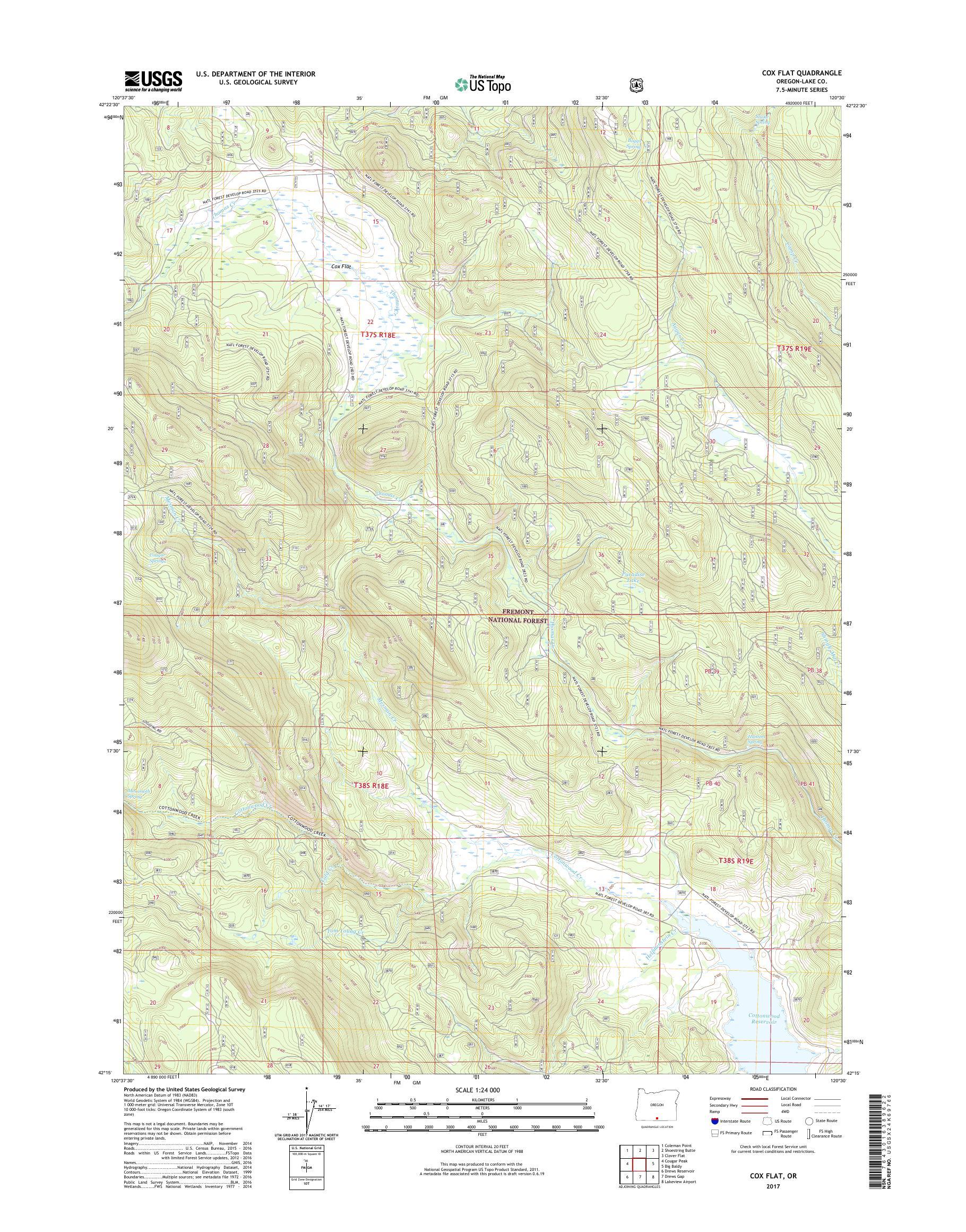 Mytopo Cox Flat Oregon Usgs Quad Topo Map - Us-flat-map