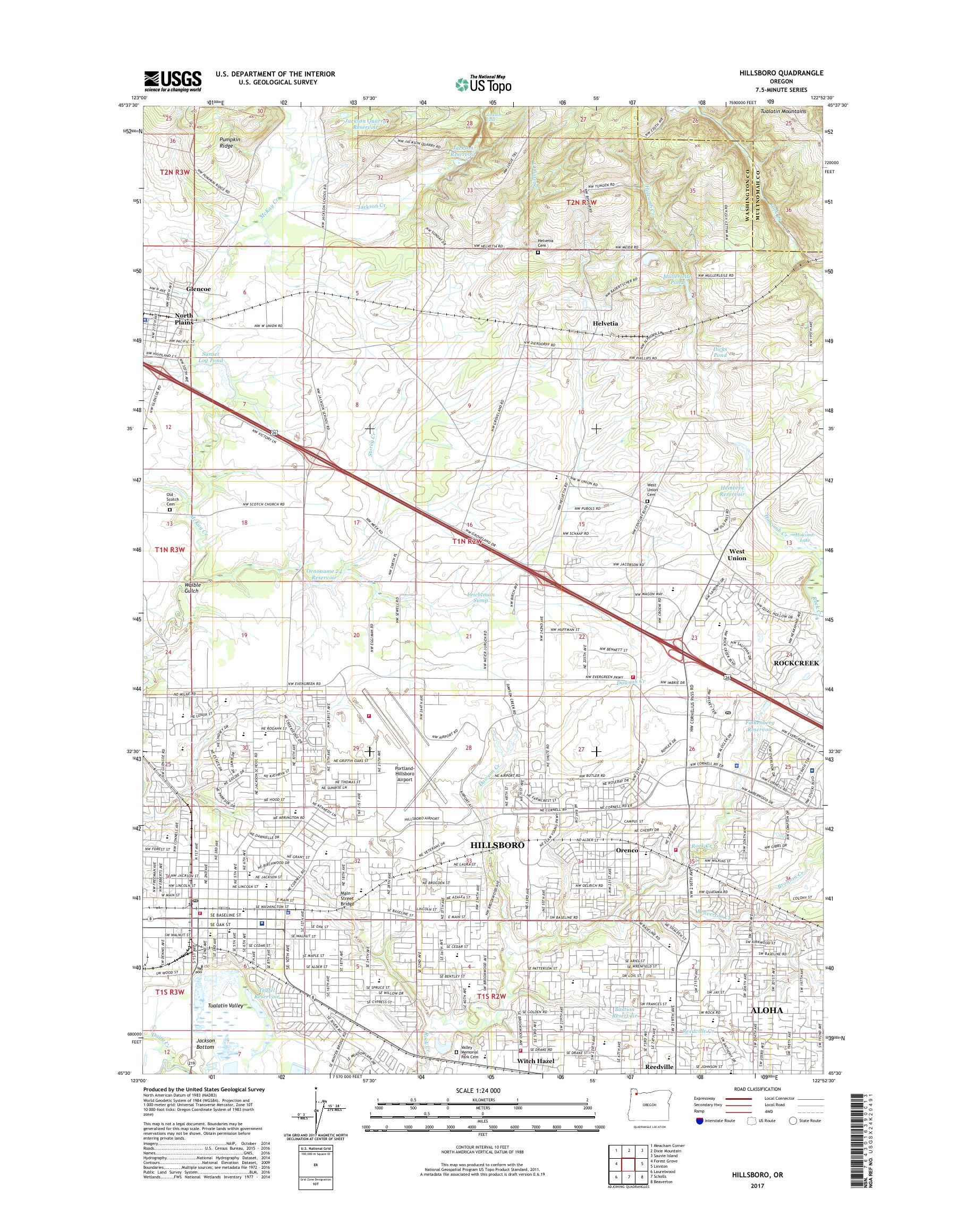 MyTopo Hillsboro, Oregon USGS Quad Topo Map