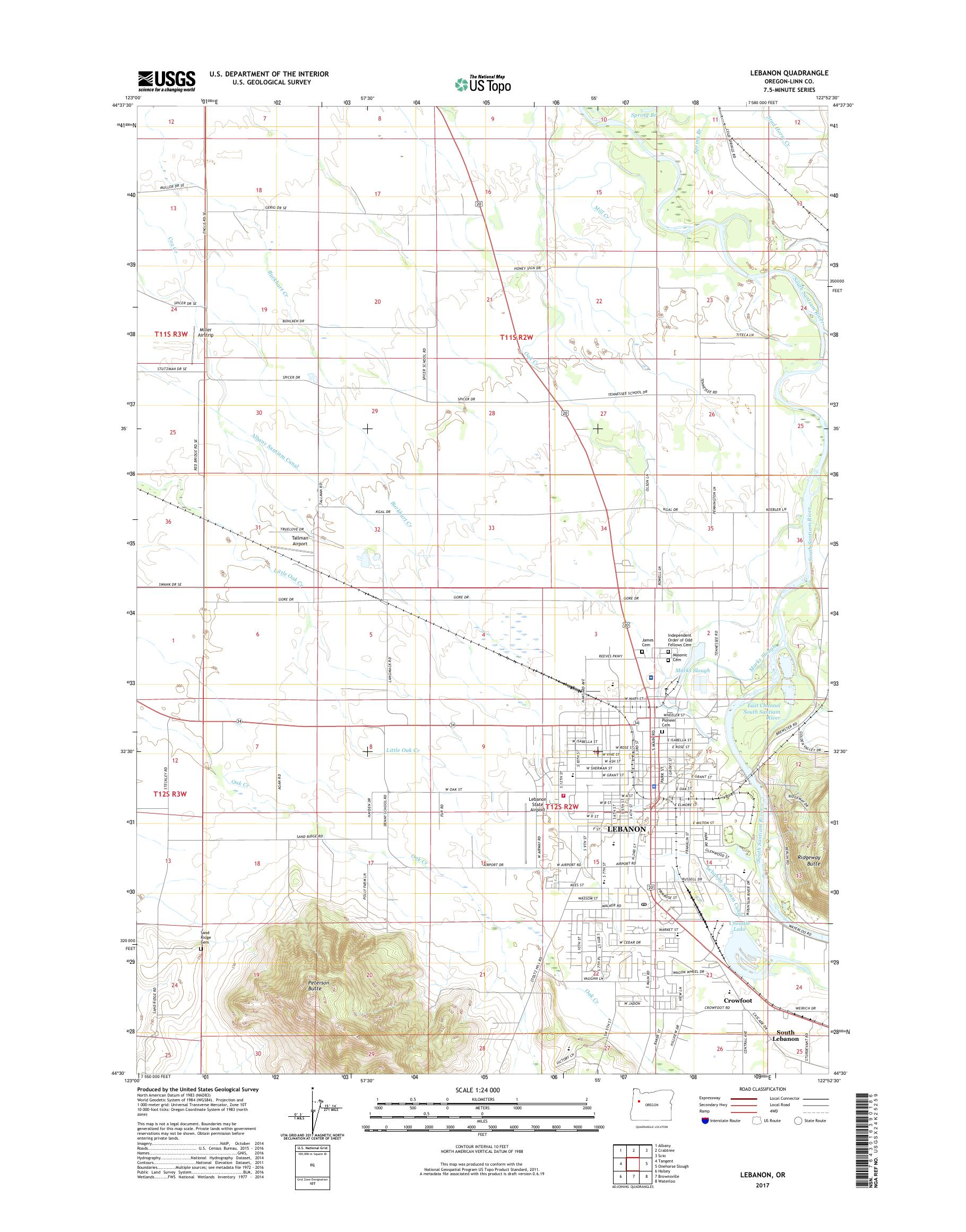 MyTopo Lebanon Oregon USGS Quad Topo Map