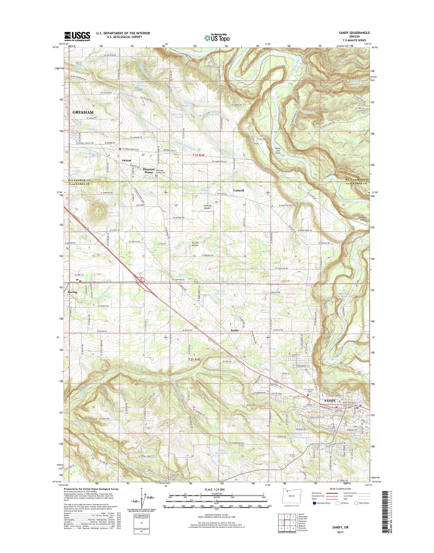 Mytopo Sandy Oregon Usgs Quad Topo Map