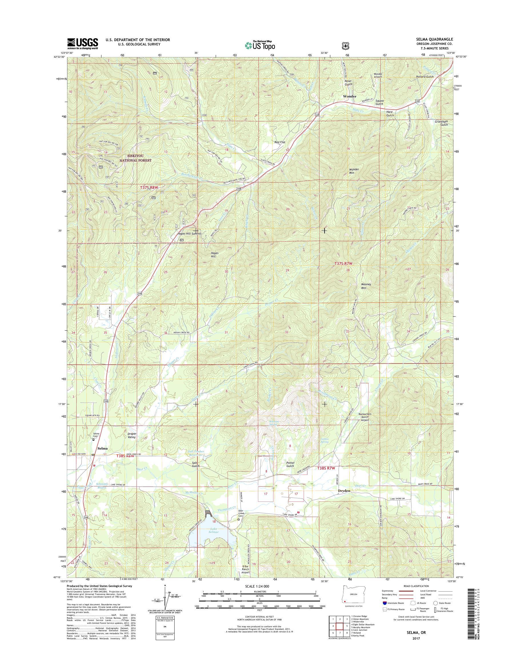 Mytopo Selma Oregon Usgs Quad Topo Map