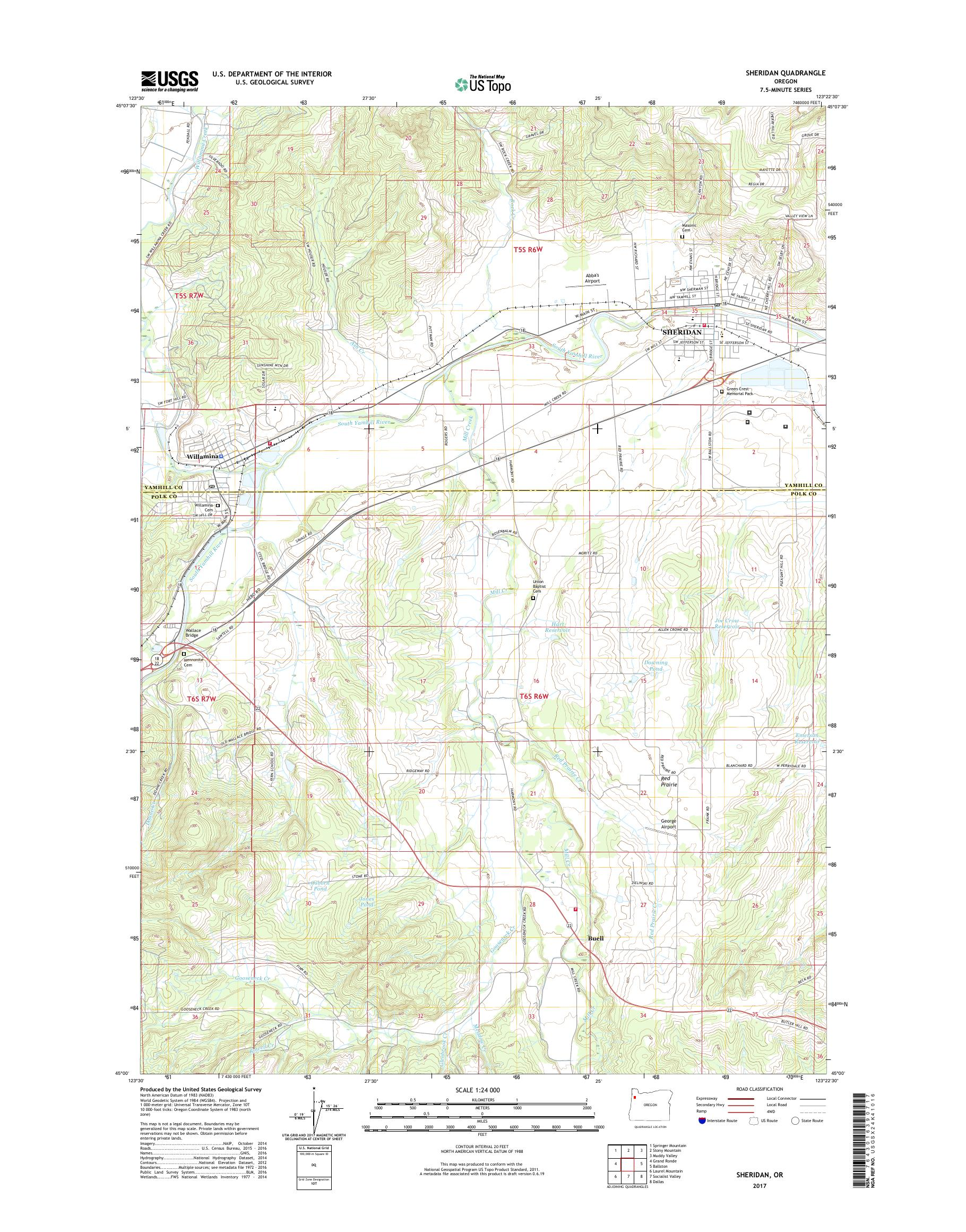 Mytopo Sheridan Oregon Usgs Quad Topo Map