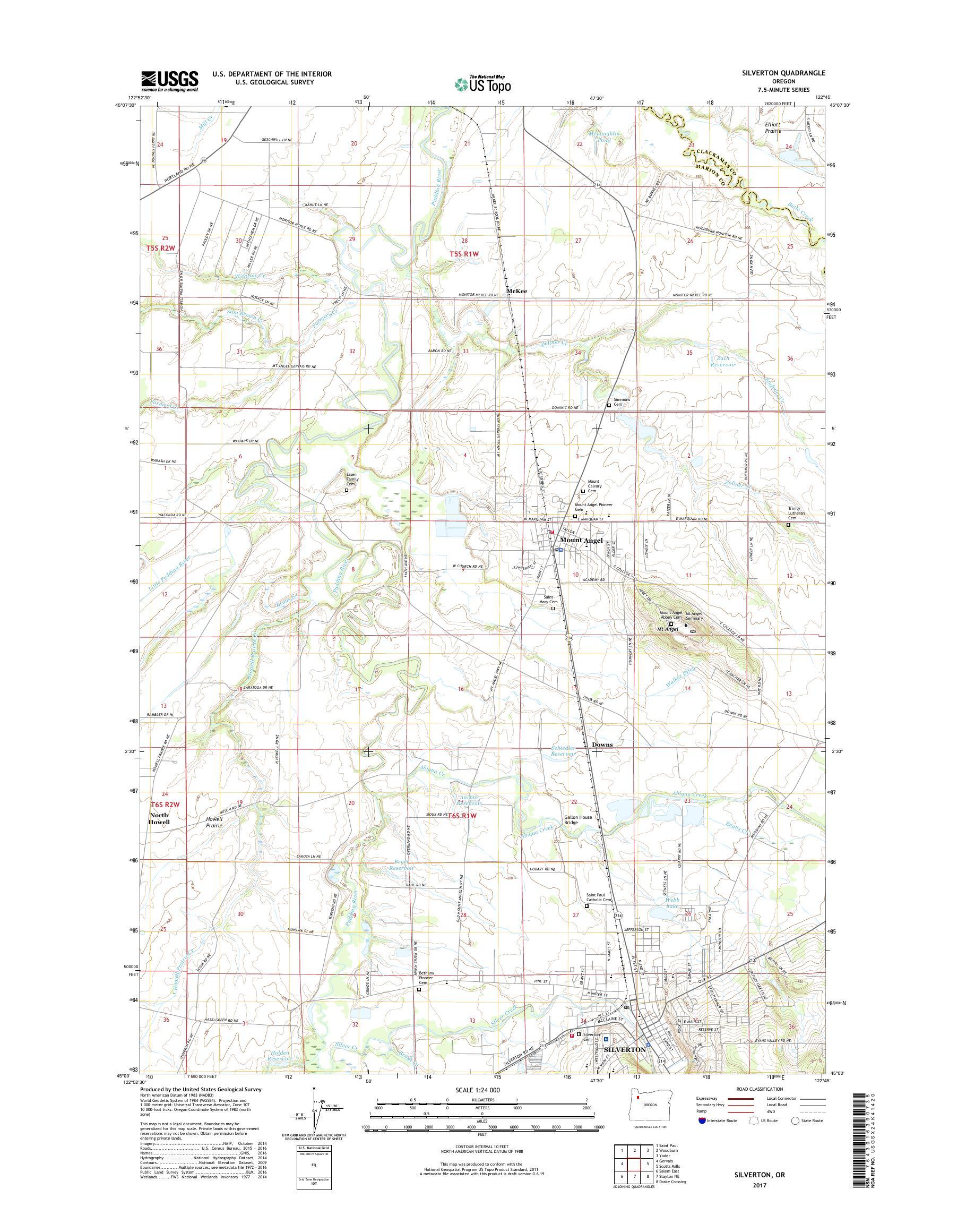 Mytopo Silverton Oregon Usgs Quad Topo Map
