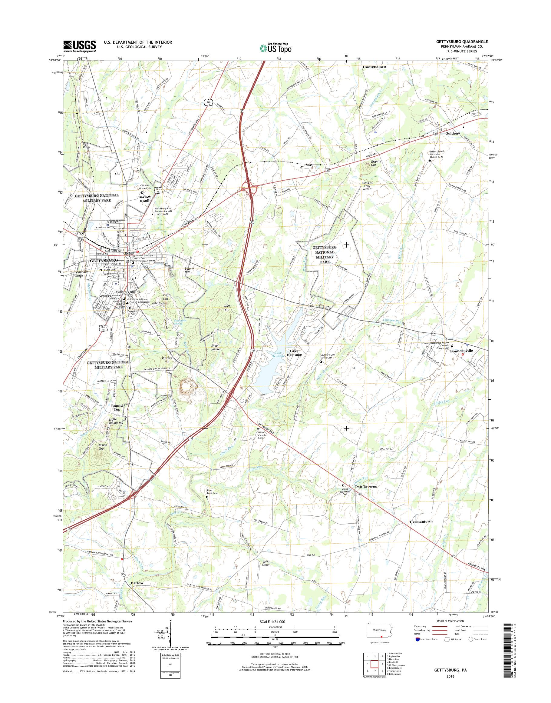 Mytopo Gettysburg Pennsylvania Usgs Quad Topo Map - Gettysburg-on-us-map