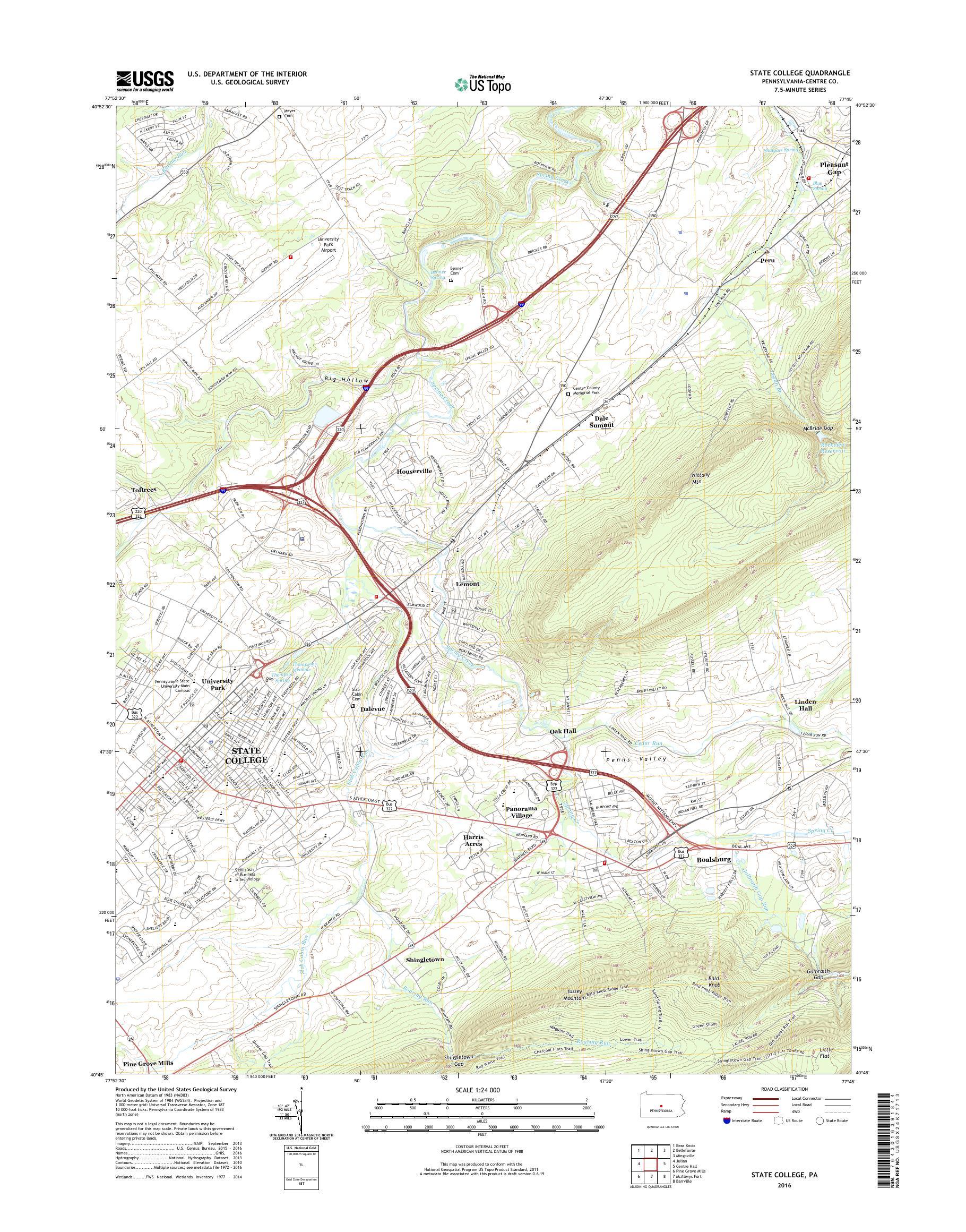 MyTopo State College, Pennsylvania USGS Quad Topo Map on
