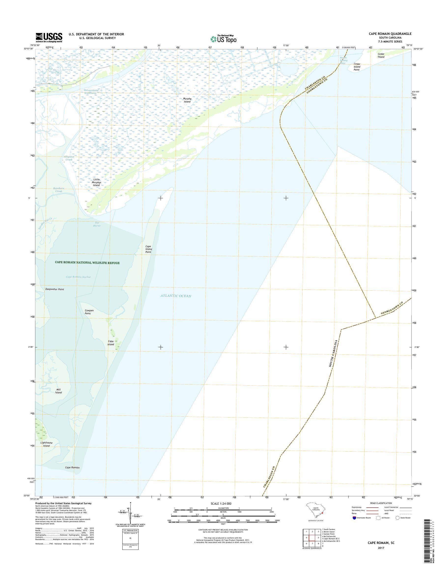 MyTopo Cape Romain, South Carolina USGS Quad Topo Map