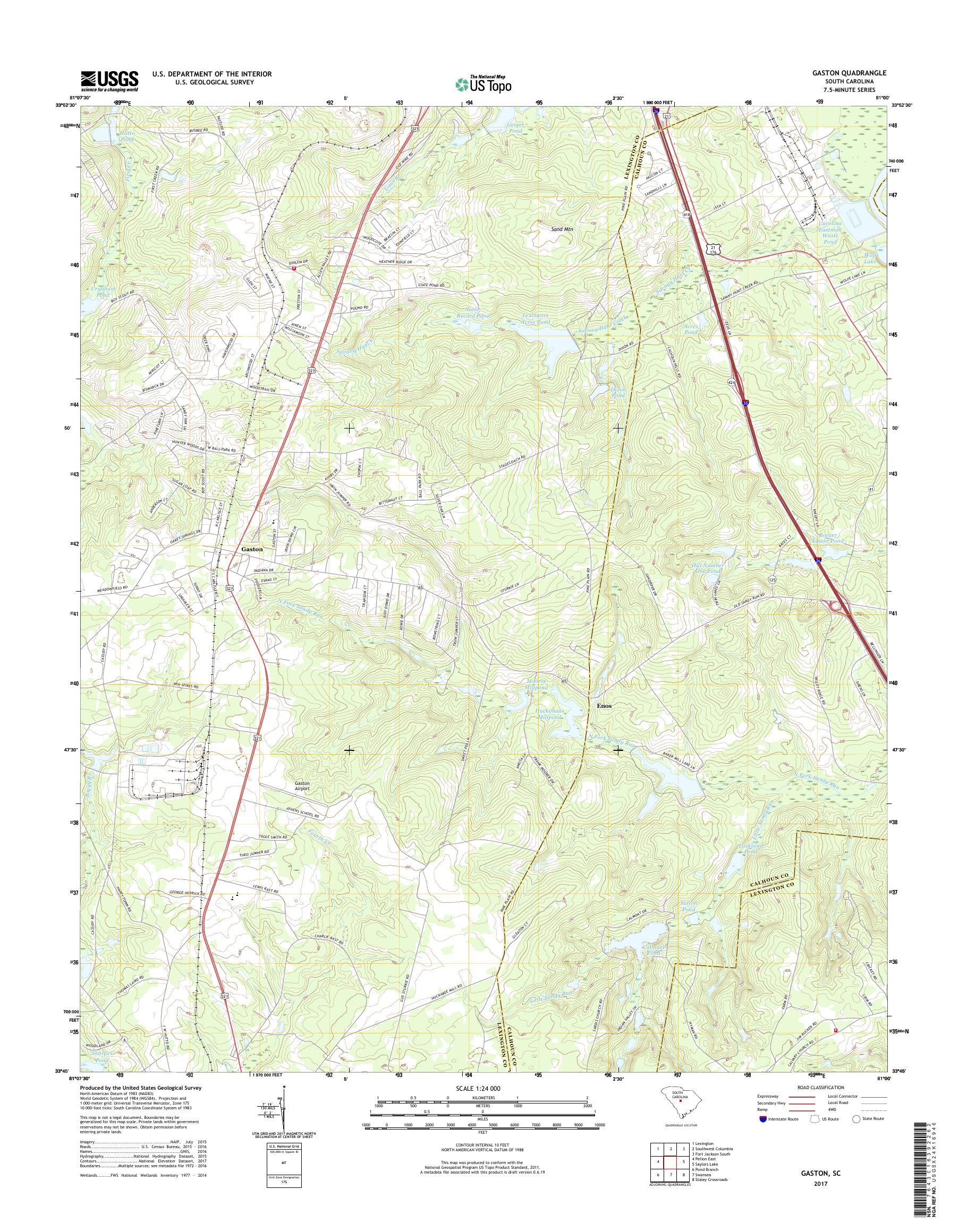MyTopo Gaston, South Carolina USGS Quad Topo Map