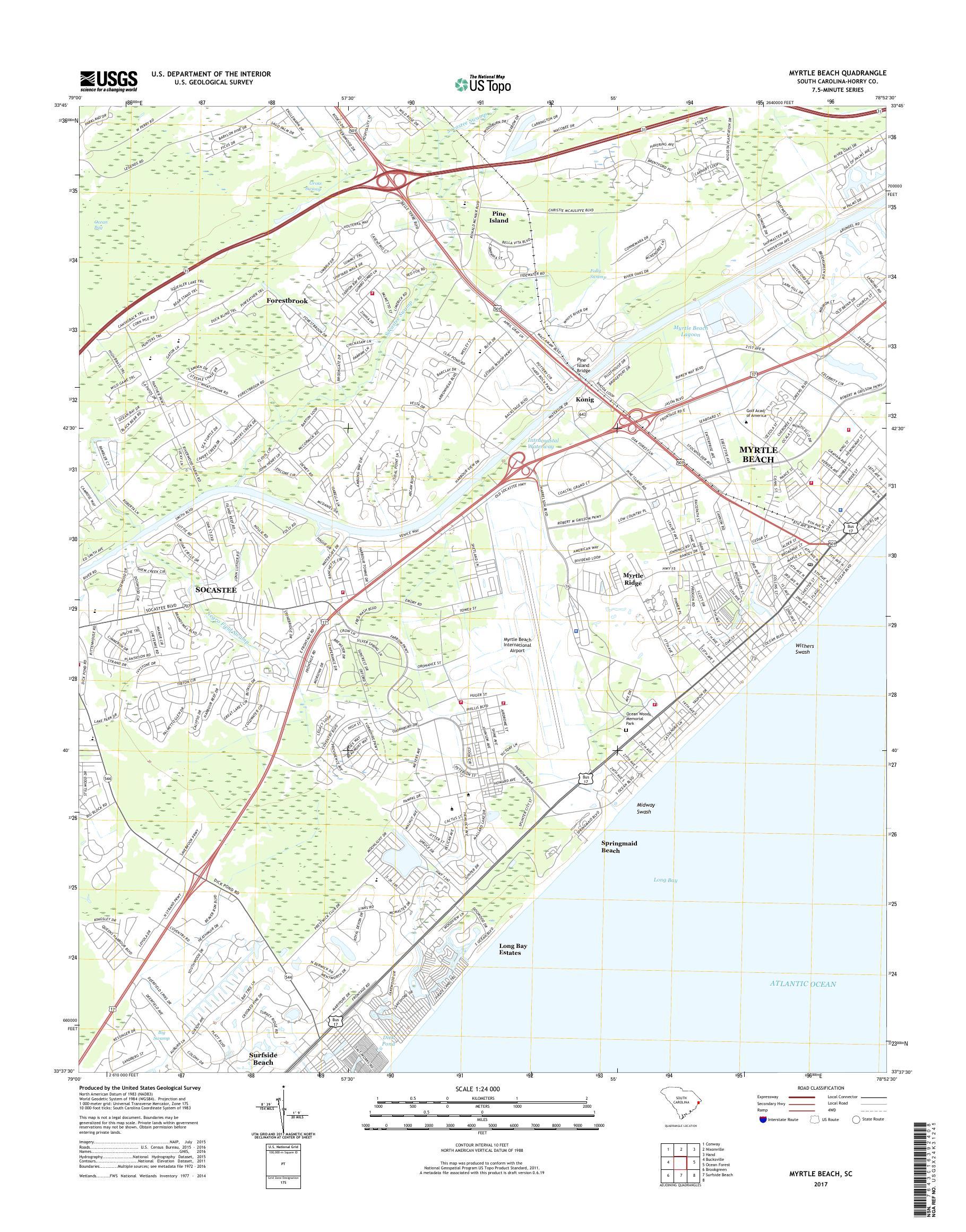 MyTopo Myrtle Beach, South Carolina USGS Quad Topo Map on