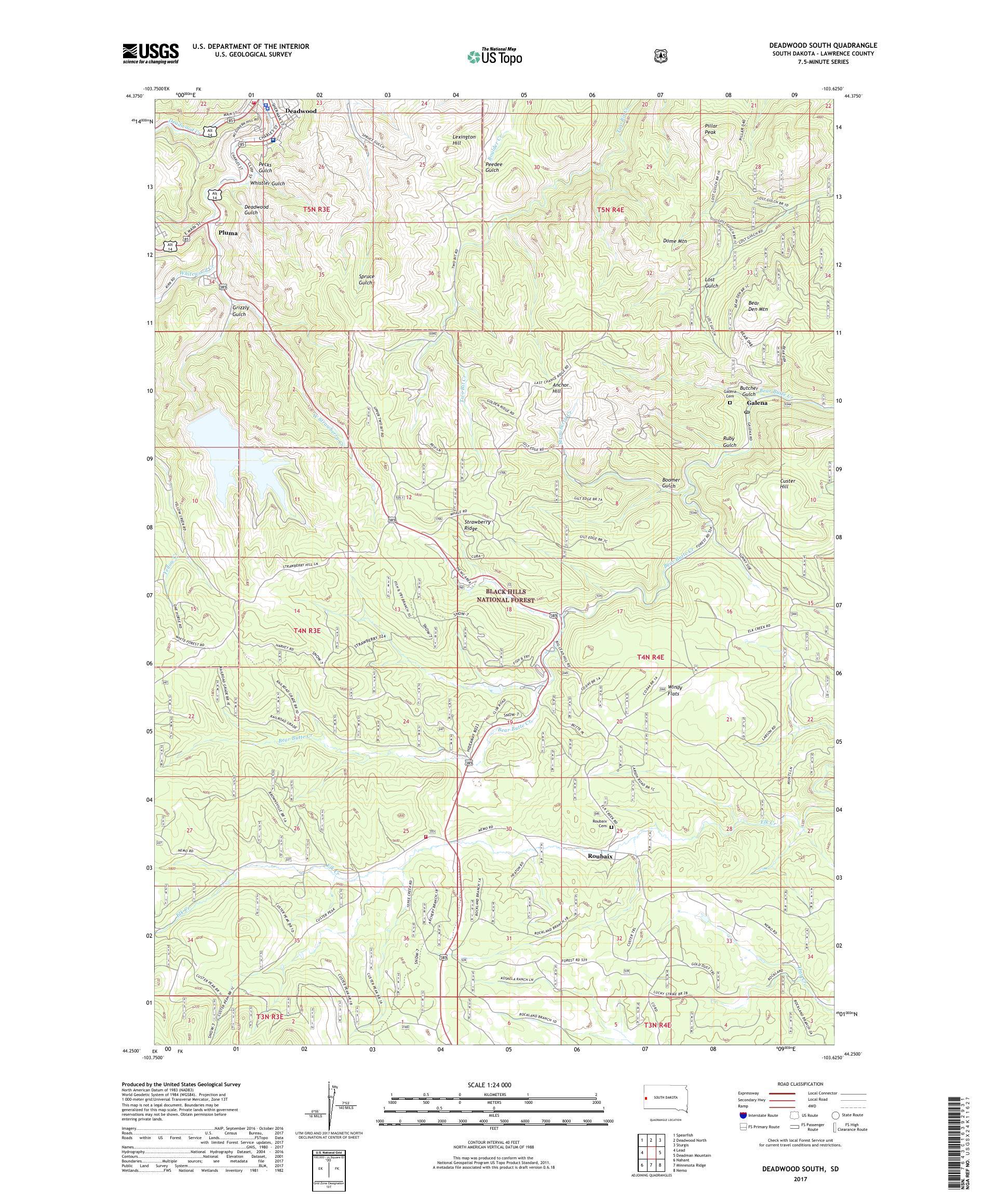 MyTopo Deadwood South, South Dakota USGS Quad Topo Map on