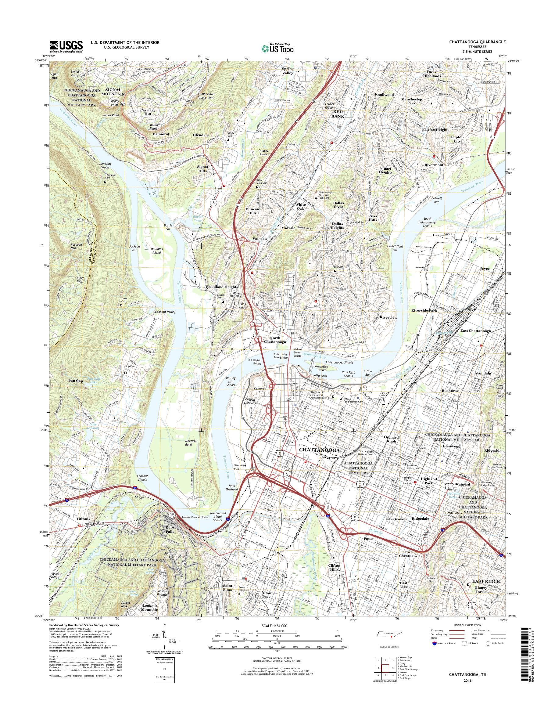 Mytopo Chattanooga Tennessee Usgs Quad Topo Map