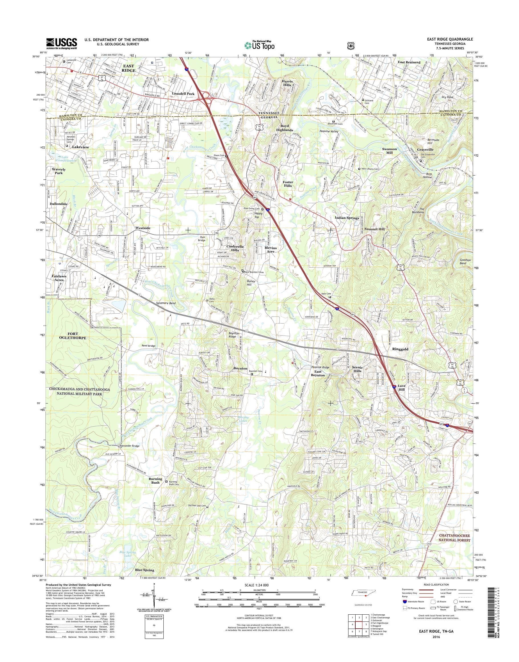MyTopo East Ridge, Tennessee USGS Quad Topo Map