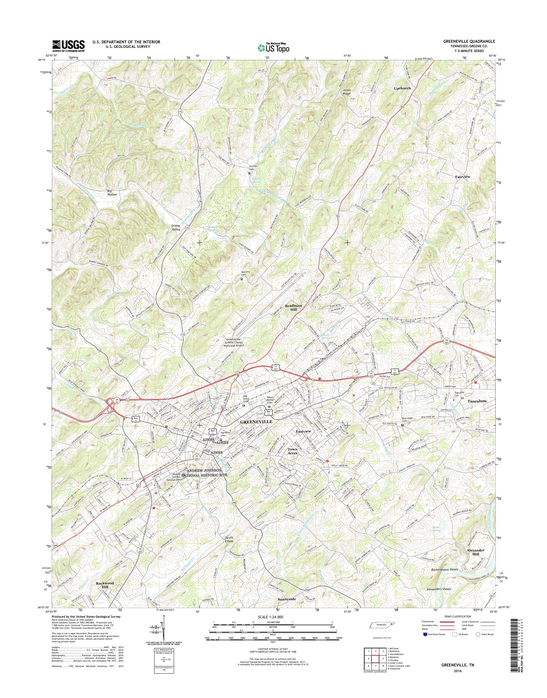 MyTopo Greeneville, Tennessee USGS Quad Topo Map