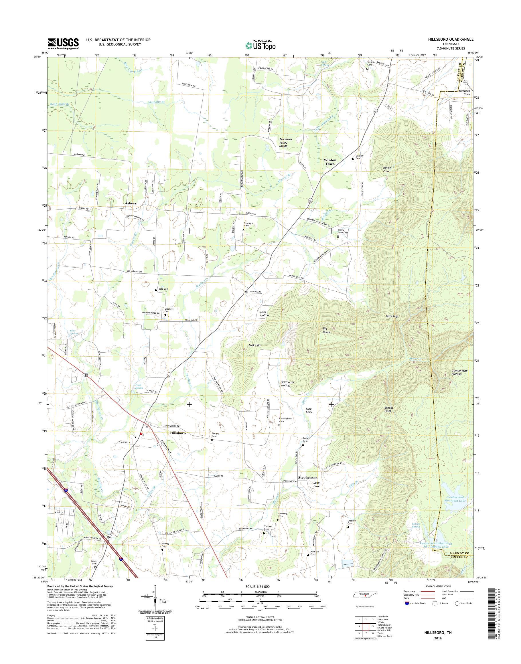 MyTopo Hillsboro, Tennessee USGS Quad Topo Map