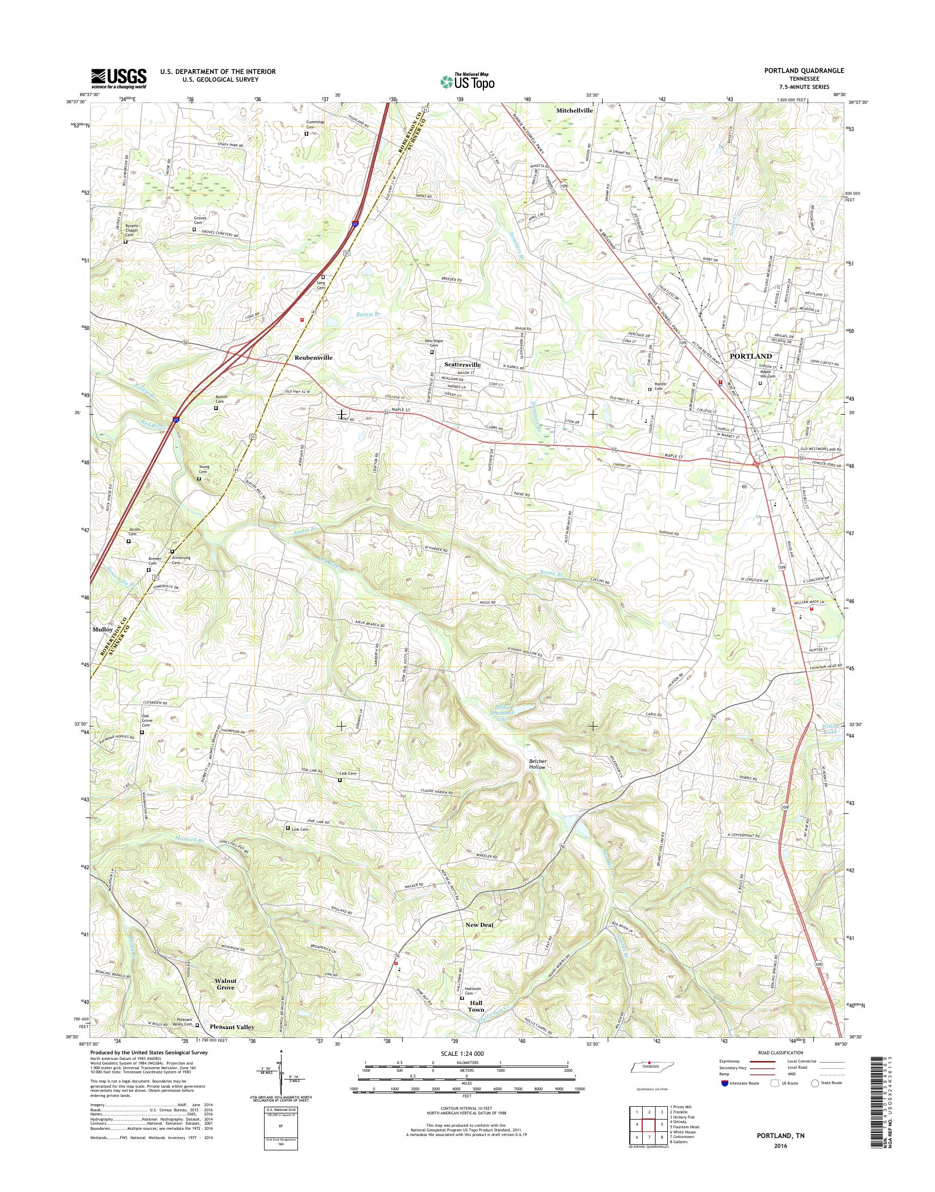 Mytopo Portland Tennessee Usgs Quad Topo Map - Portland-on-us-map