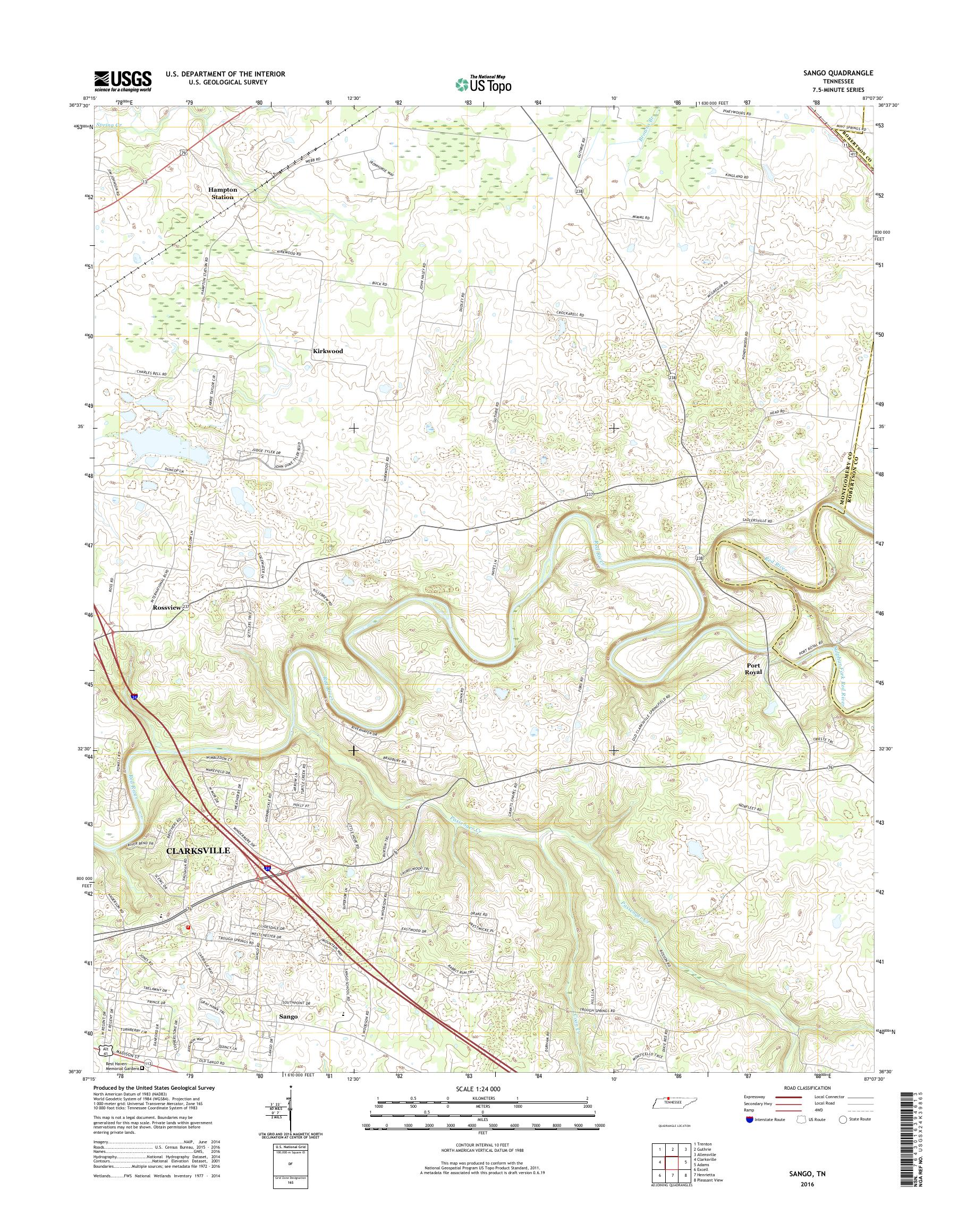 MyTopo Sango, Tennessee USGS Quad Topo Map on