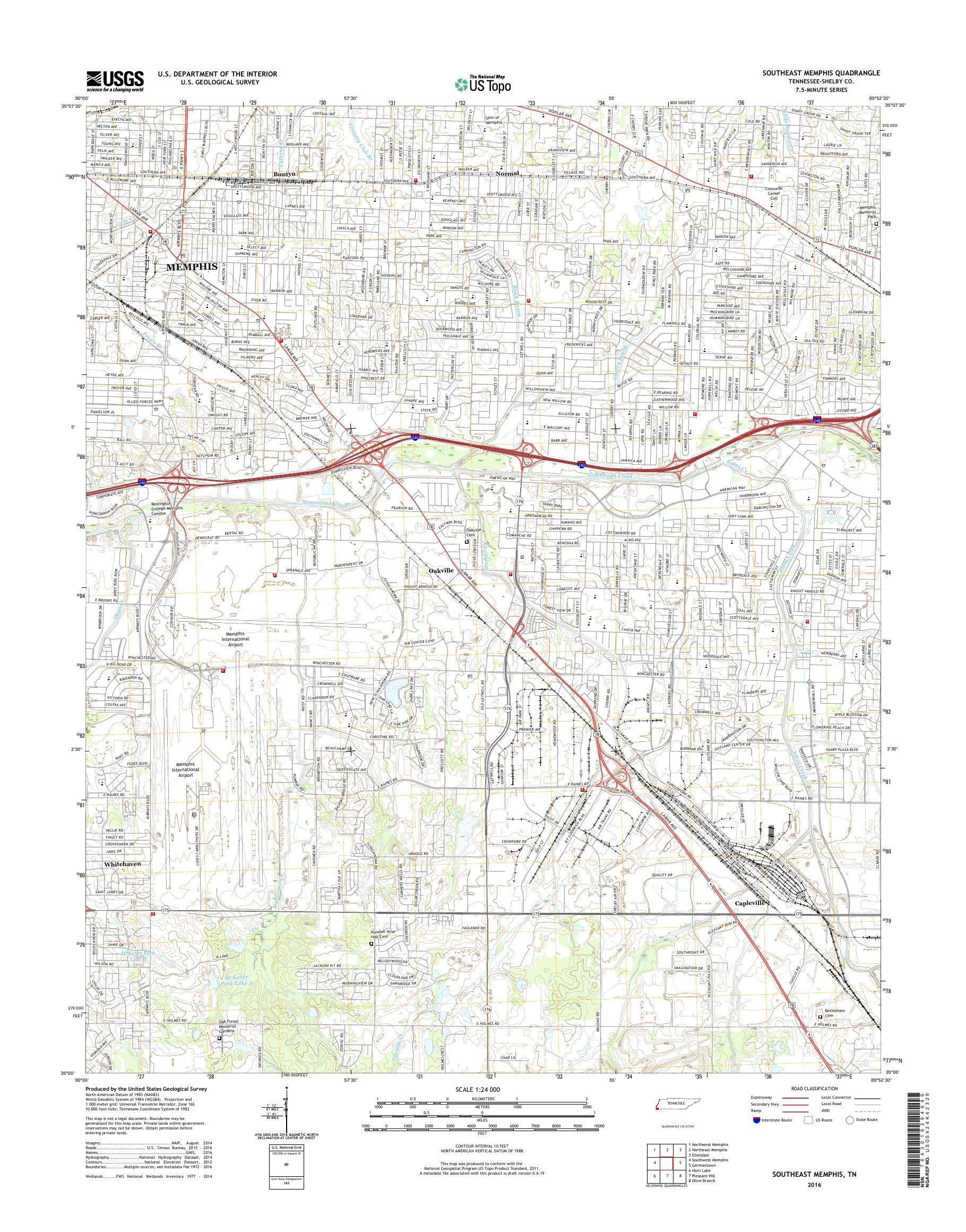 MyTopo Southeast Memphis, Tennessee USGS Quad Topo Map