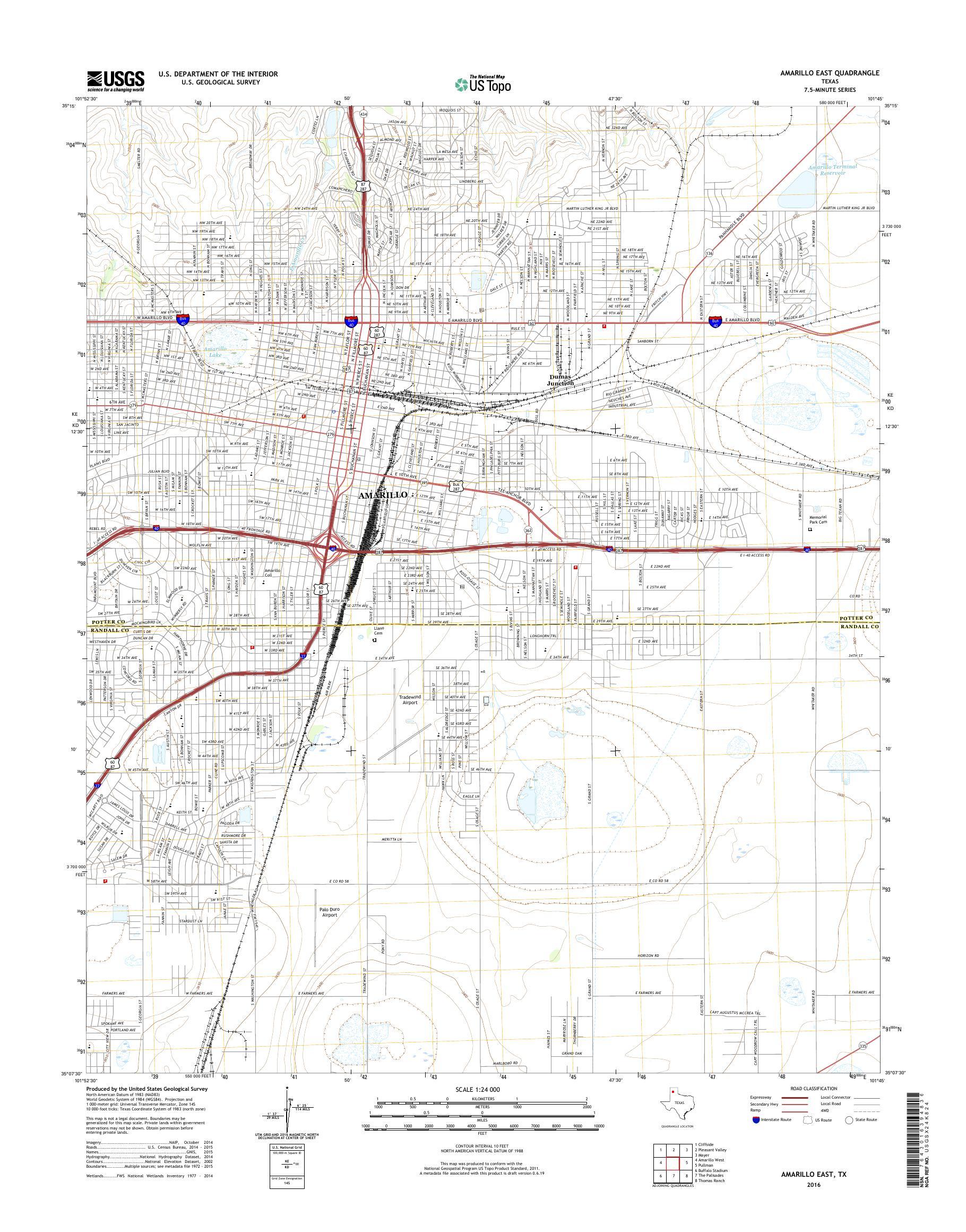 Map Of Texas Amarillo.Mytopo Amarillo East Texas Usgs Quad Topo Map