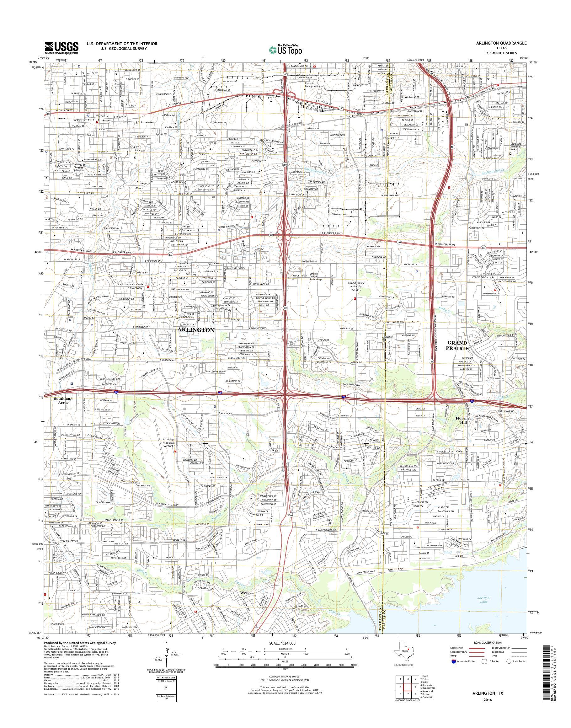 Map Of Texas Arlington.Mytopo Arlington Texas Usgs Quad Topo Map