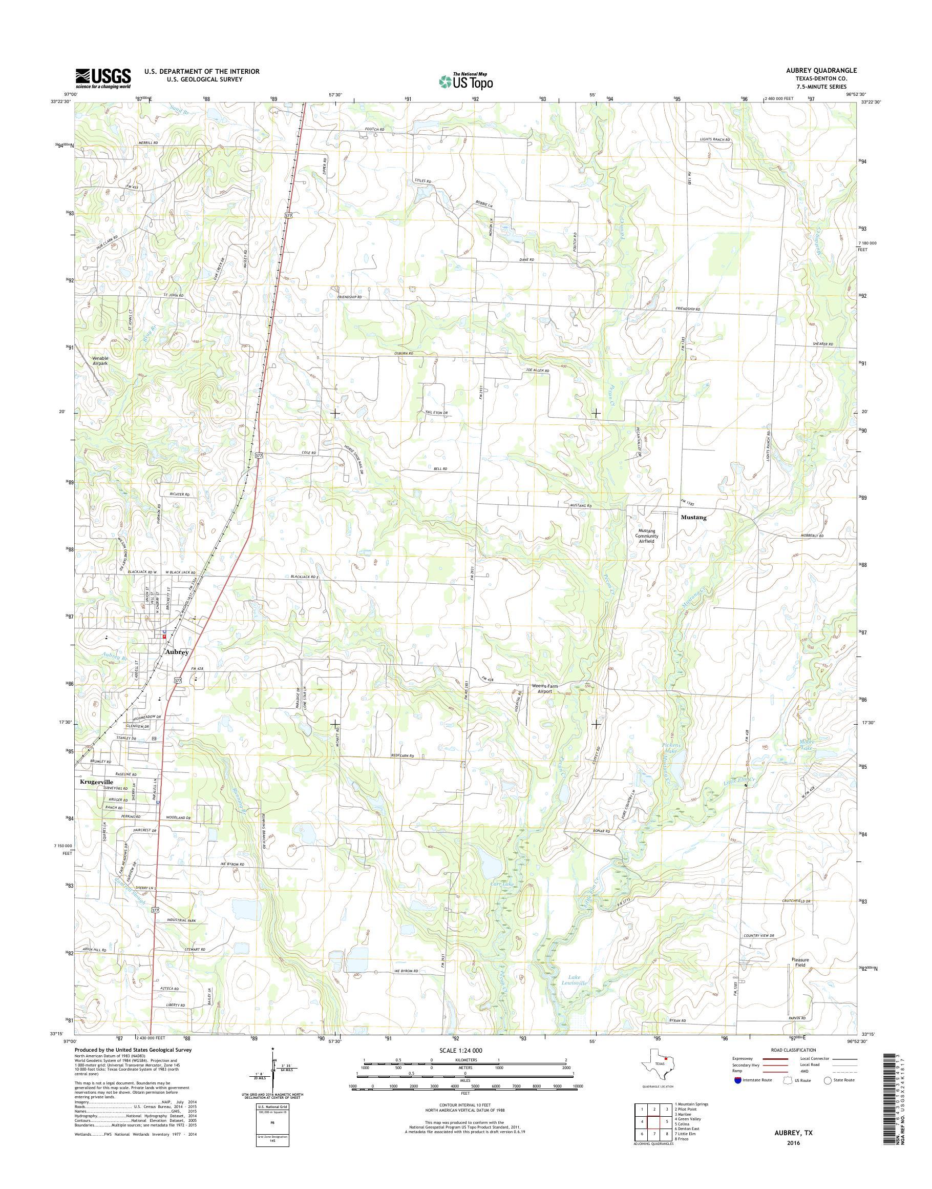 Mytopo Aubrey Texas Usgs Quad Topo Map