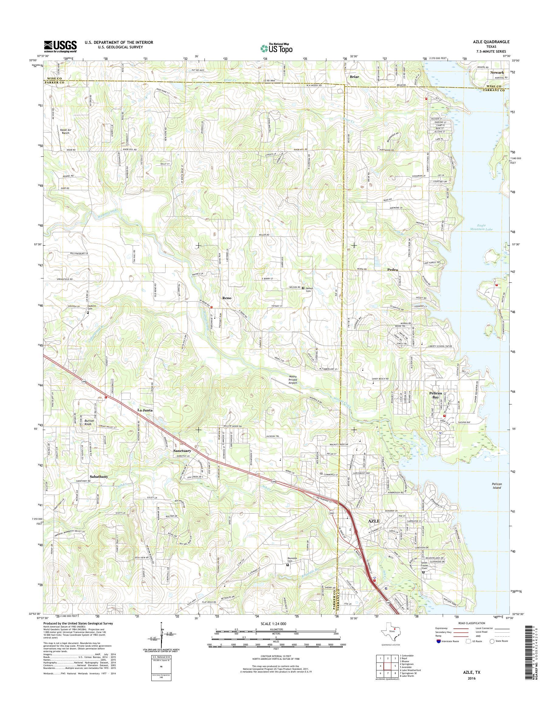 Amazon Com Yellowmaps Azle Tx Topo Map 1 24000 Scale 7 5 X 7 5