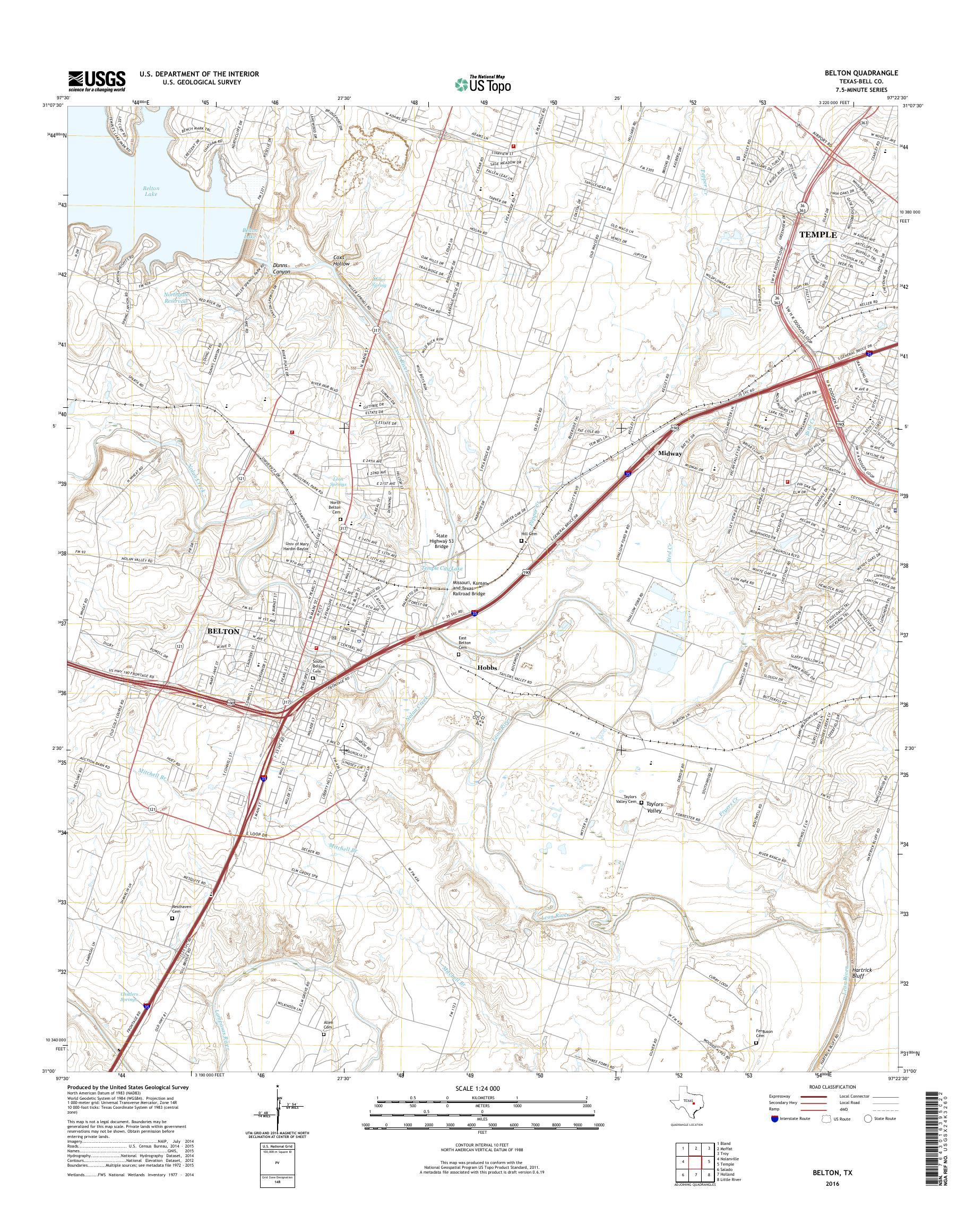 MyTopo Belton, Texas USGS Quad Topo Map
