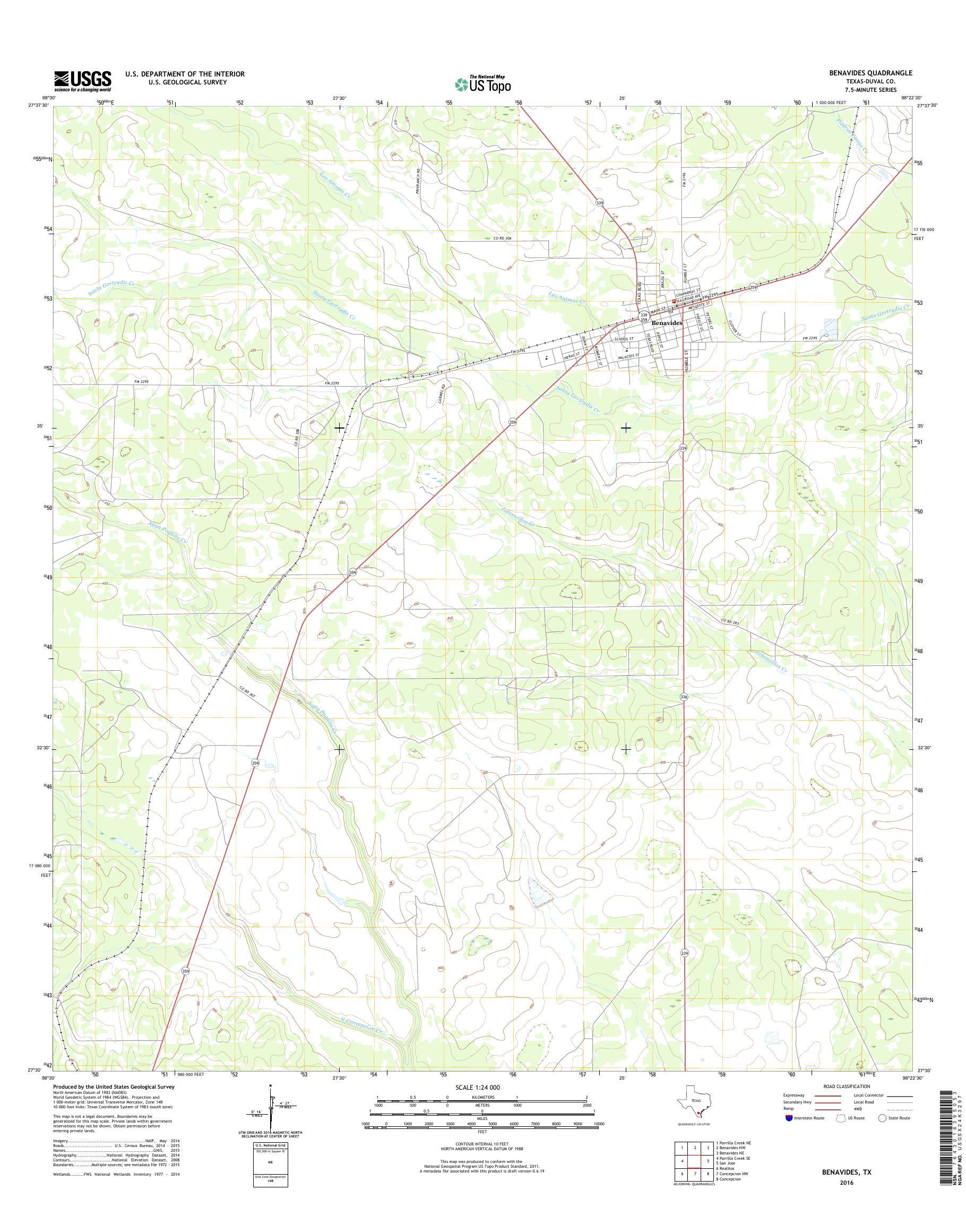 MyTopo Benavides, Texas USGS Quad Topo Map