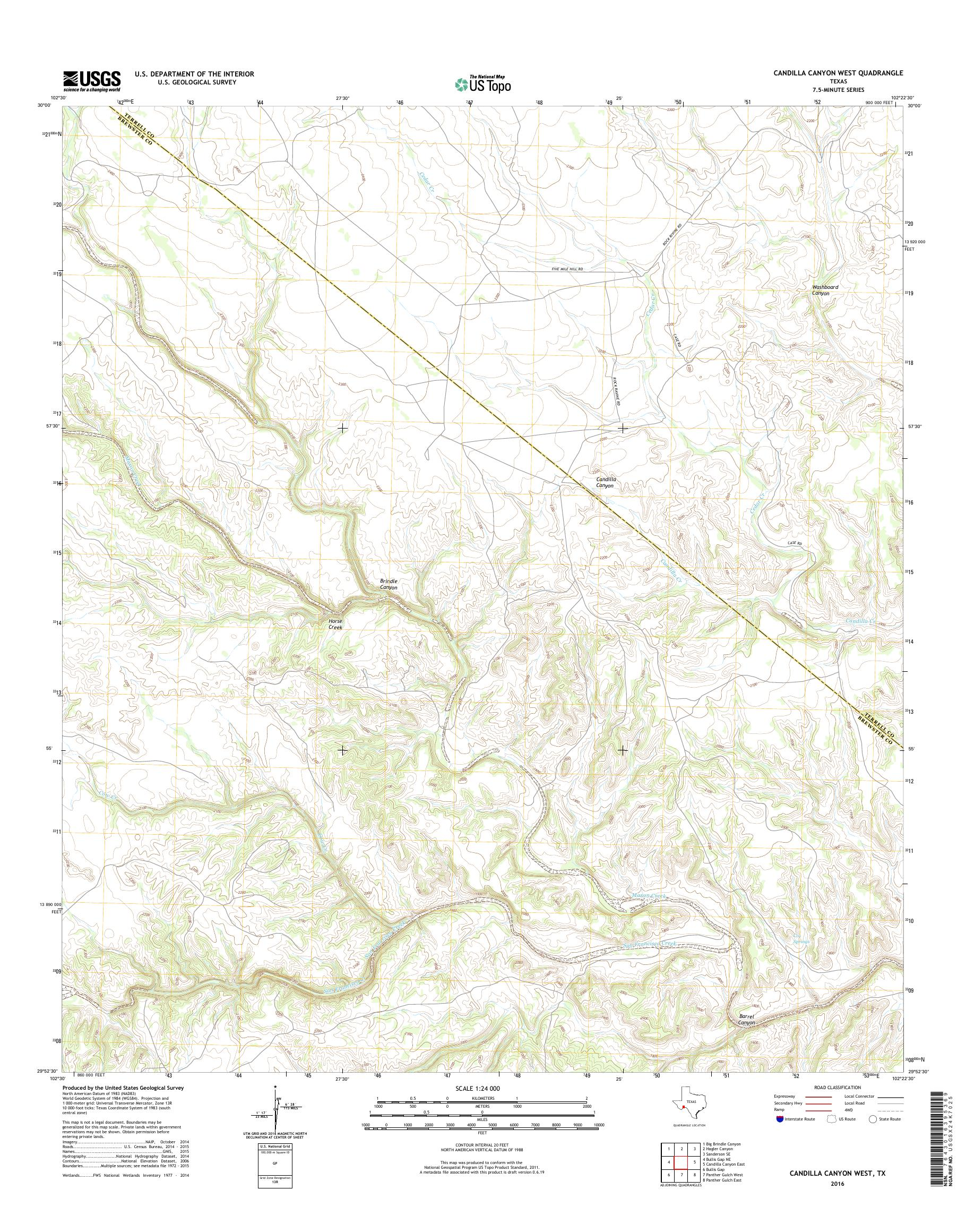 MyTopo Candilla Canyon West, Texas USGS Quad Topo Map
