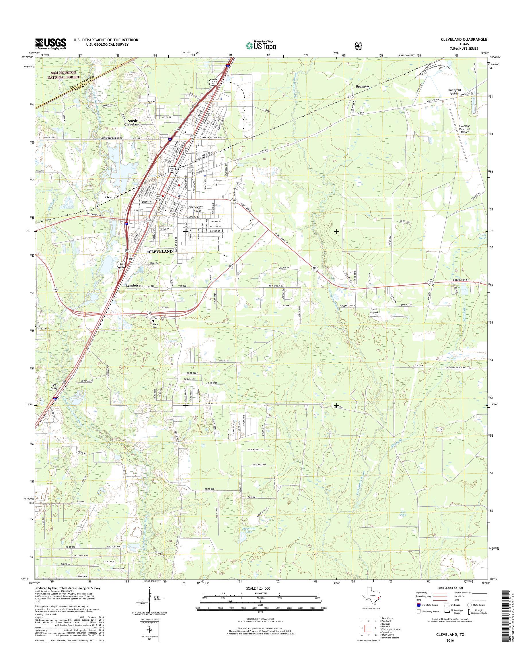Mytopo Cleveland Texas Usgs Quad Topo Map - Cleveland-on-us-map