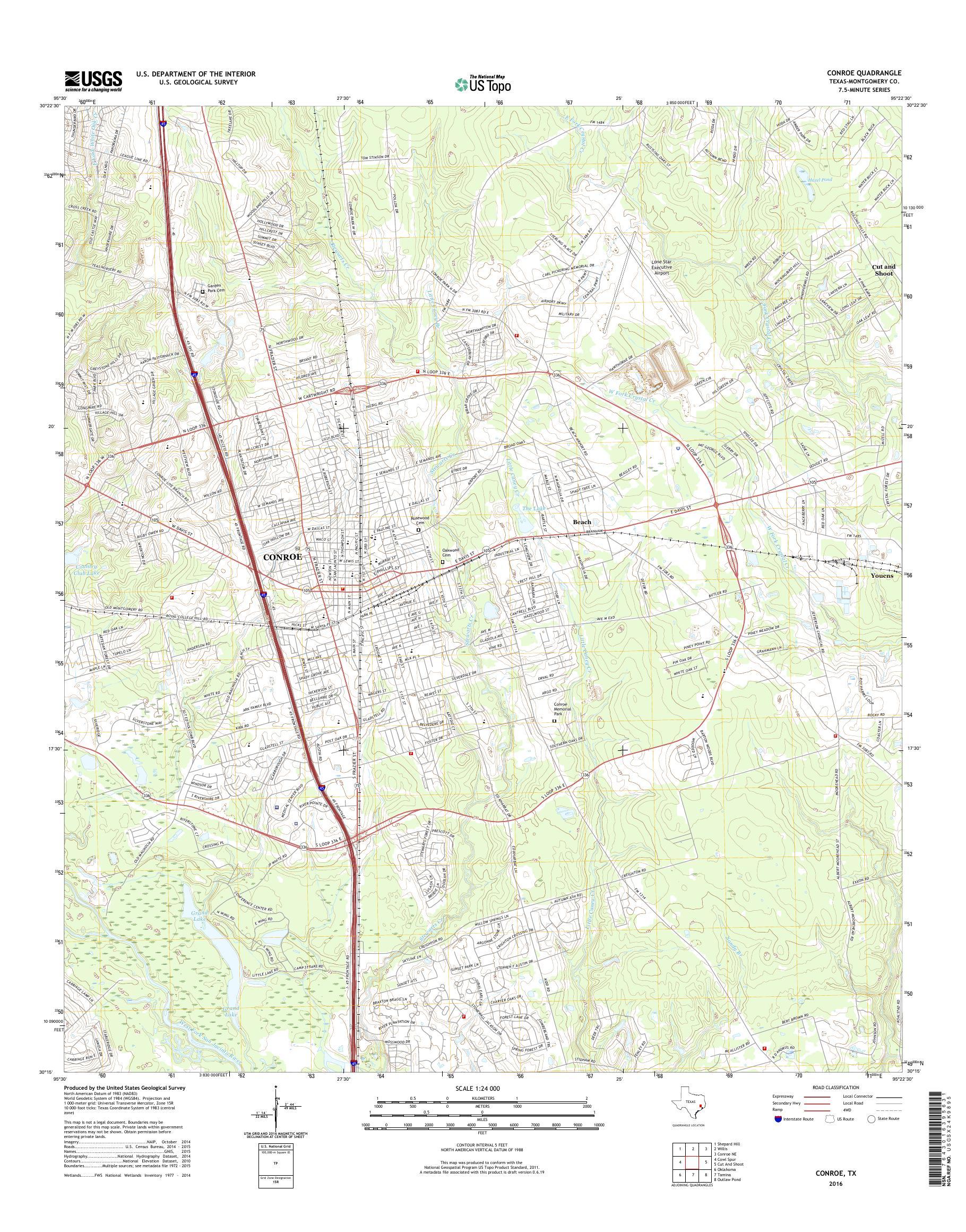 Mytopo Conroe Texas Usgs Quad Topo Map