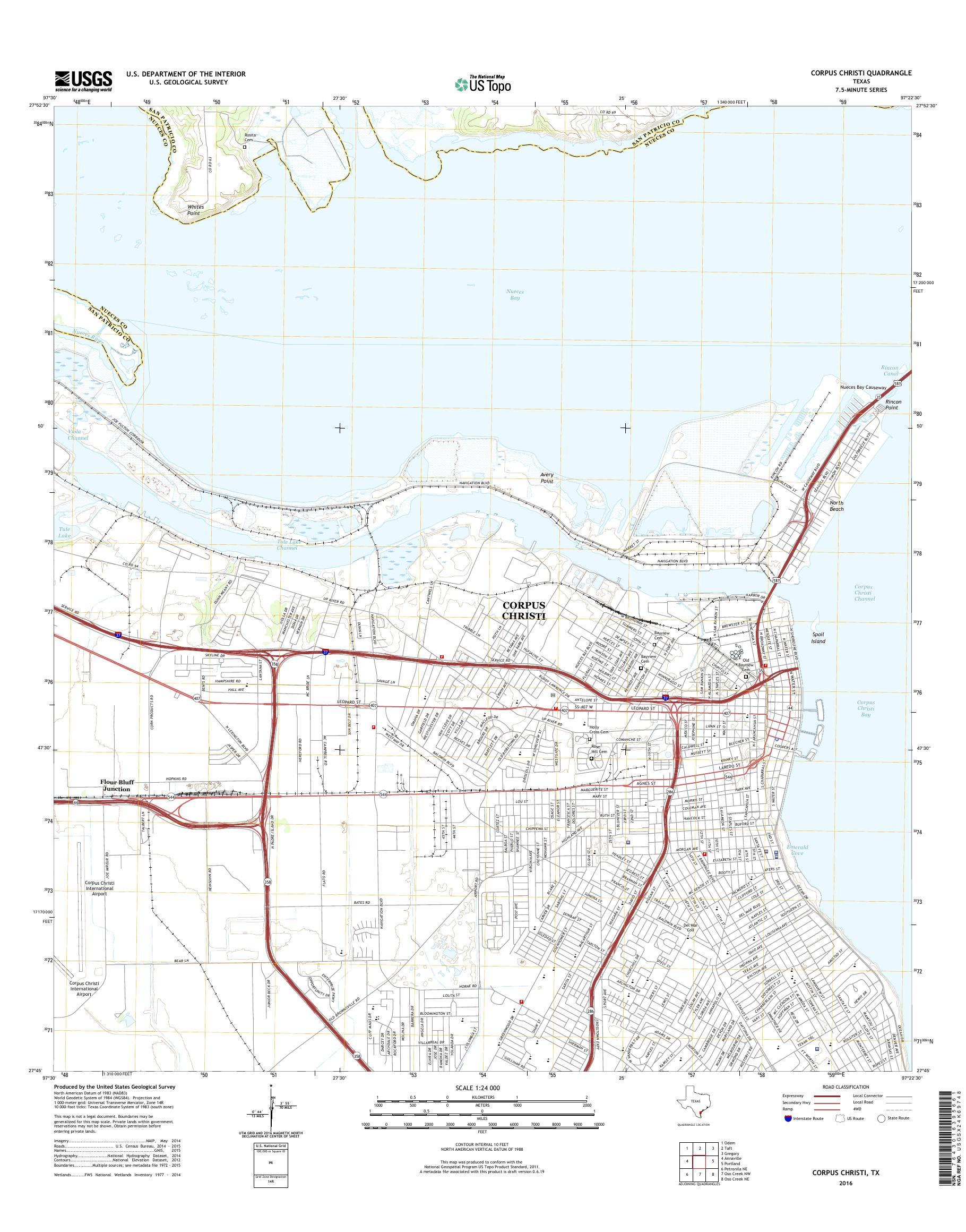 Corpus Christi Map Of Texas.Mytopo Corpus Christi Texas Usgs Quad Topo Map