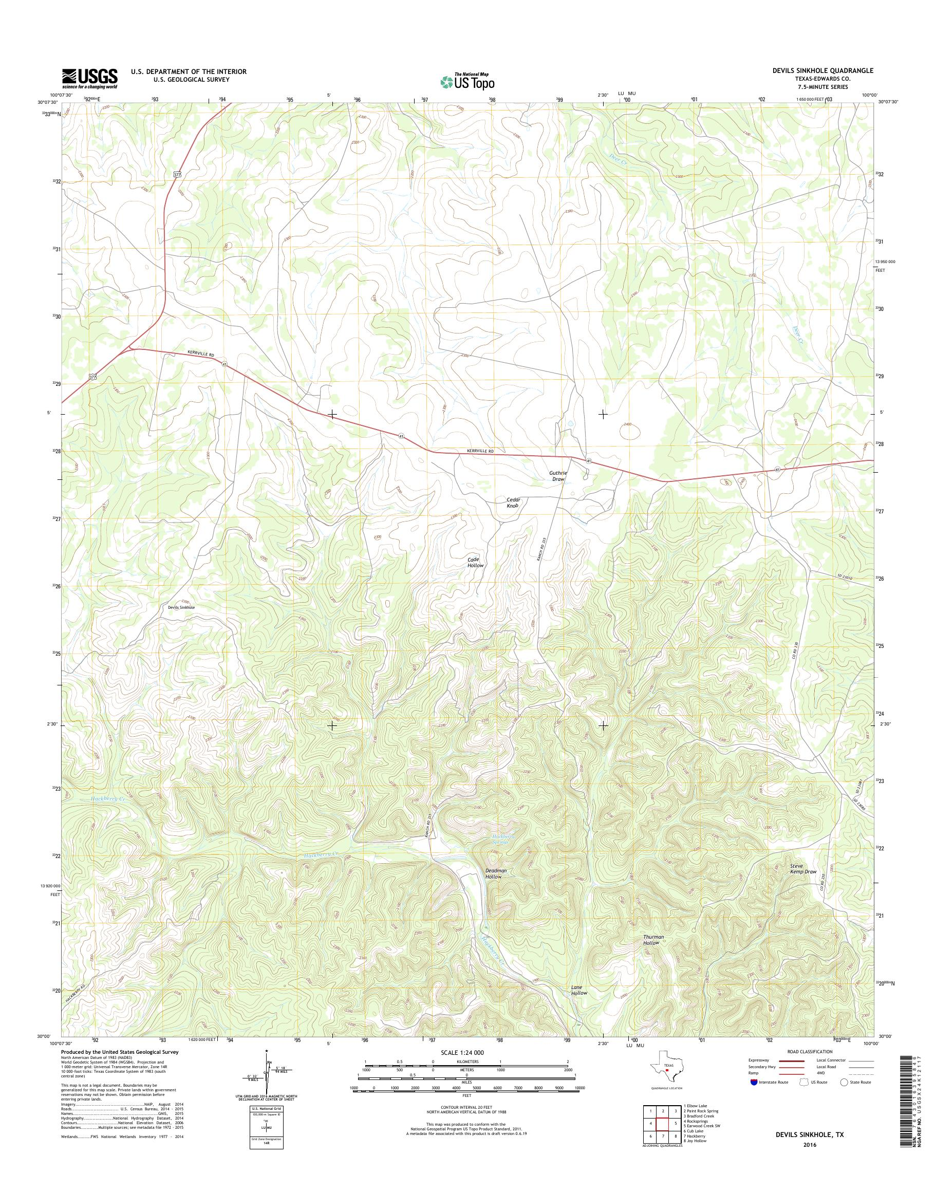 Mytopo Devils Sinkhole Texas Usgs Quad Topo Map - Us-sinkhole-map