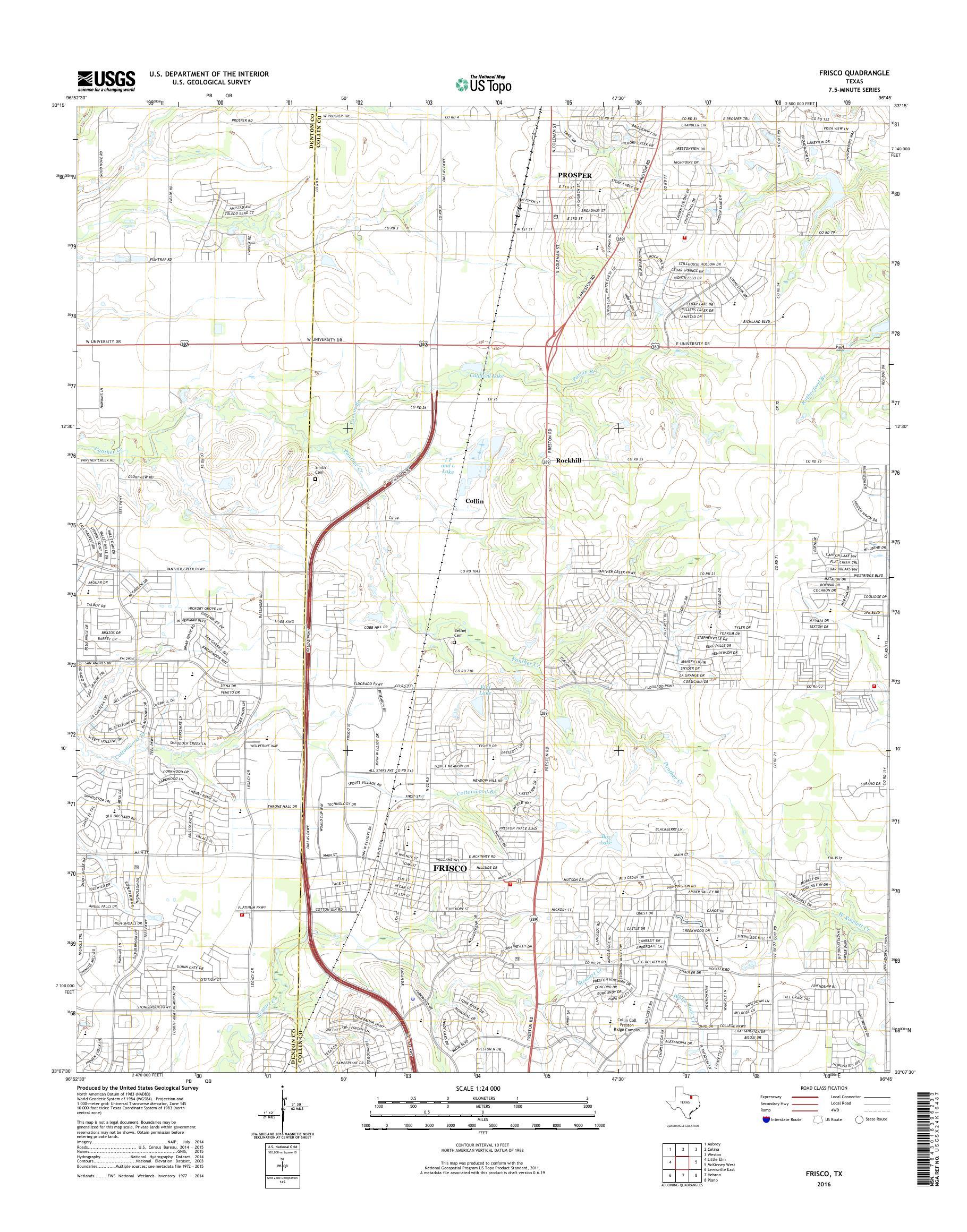 Mytopo Frisco Texas Usgs Quad Topo Map