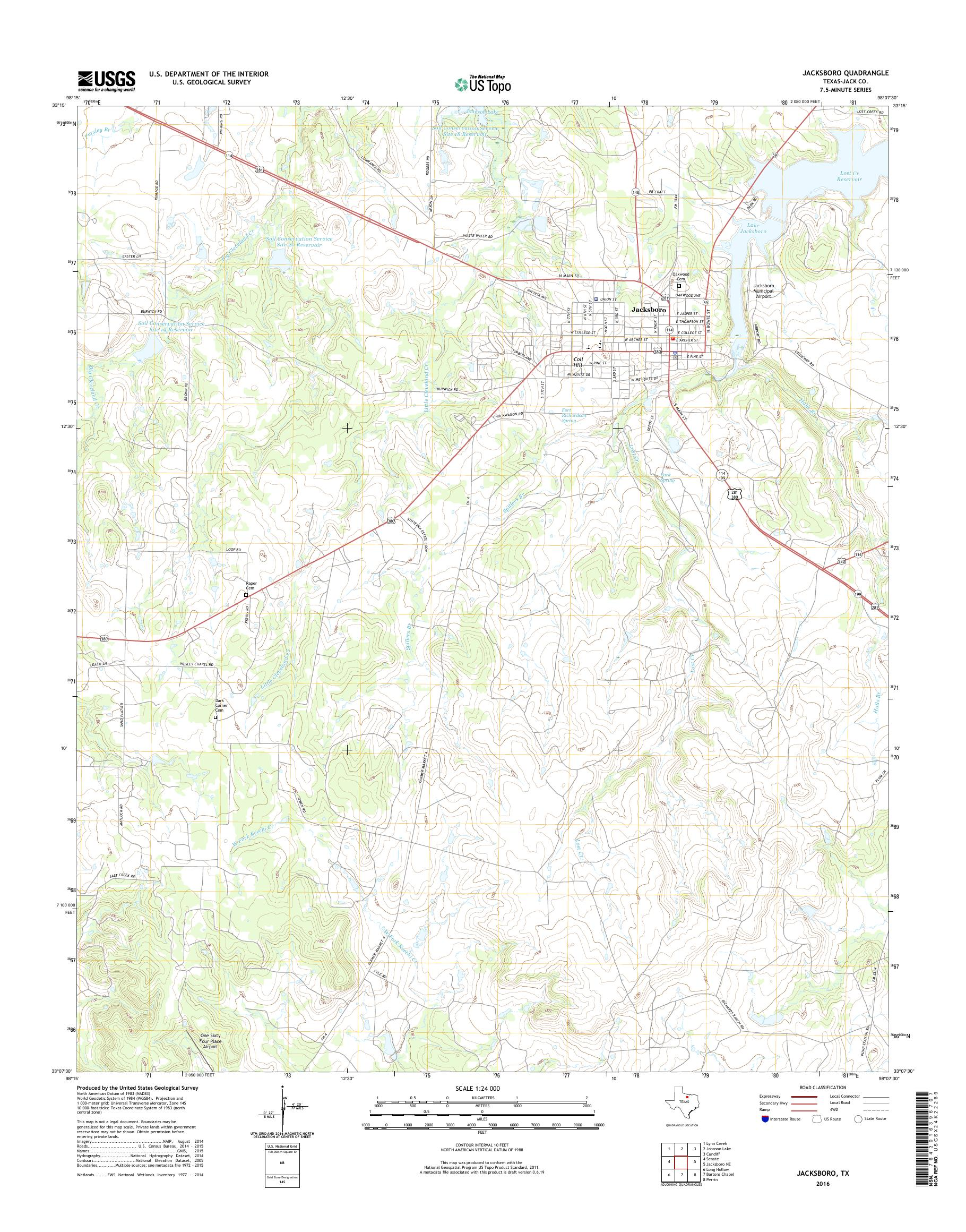 Map Of Jacksboro Texas.Mytopo Jacksboro Texas Usgs Quad Topo Map