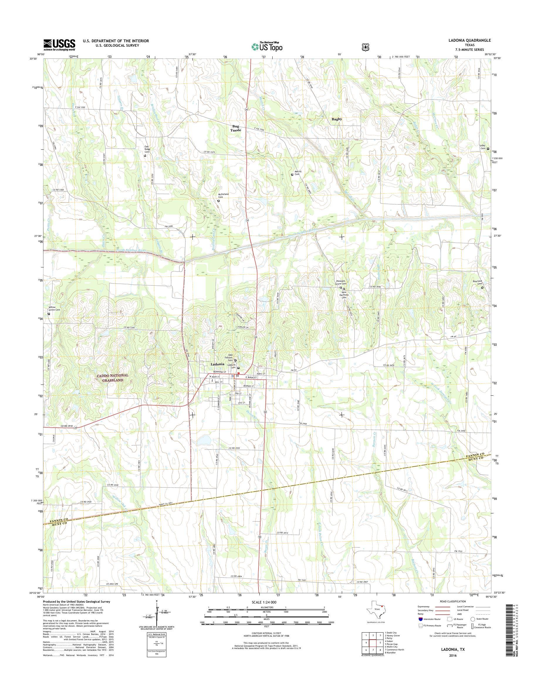 Map Of Texas 2014.Mytopo Ladonia Texas Usgs Quad Topo Map
