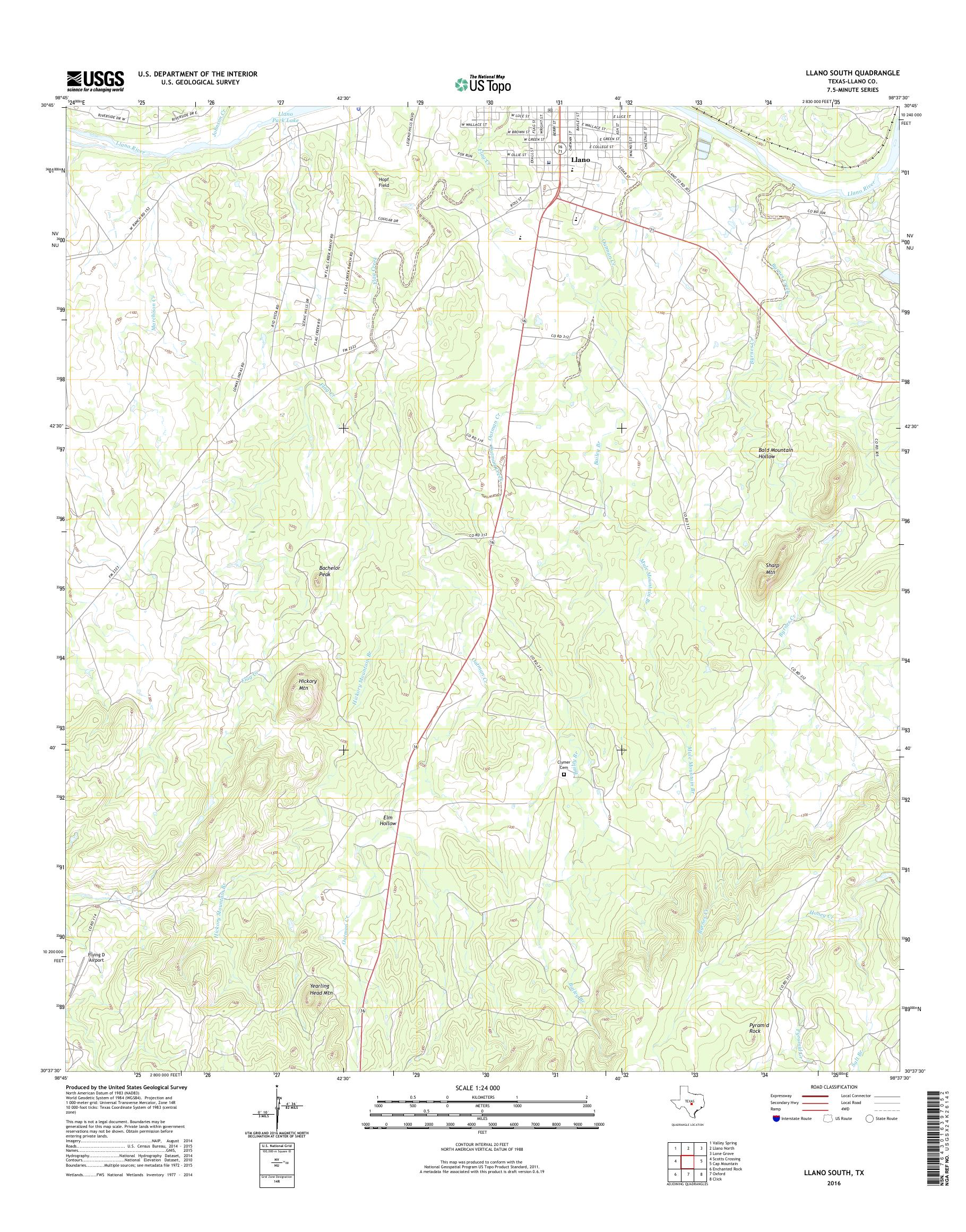 Mytopo Llano South Texas Usgs Quad Topo Map