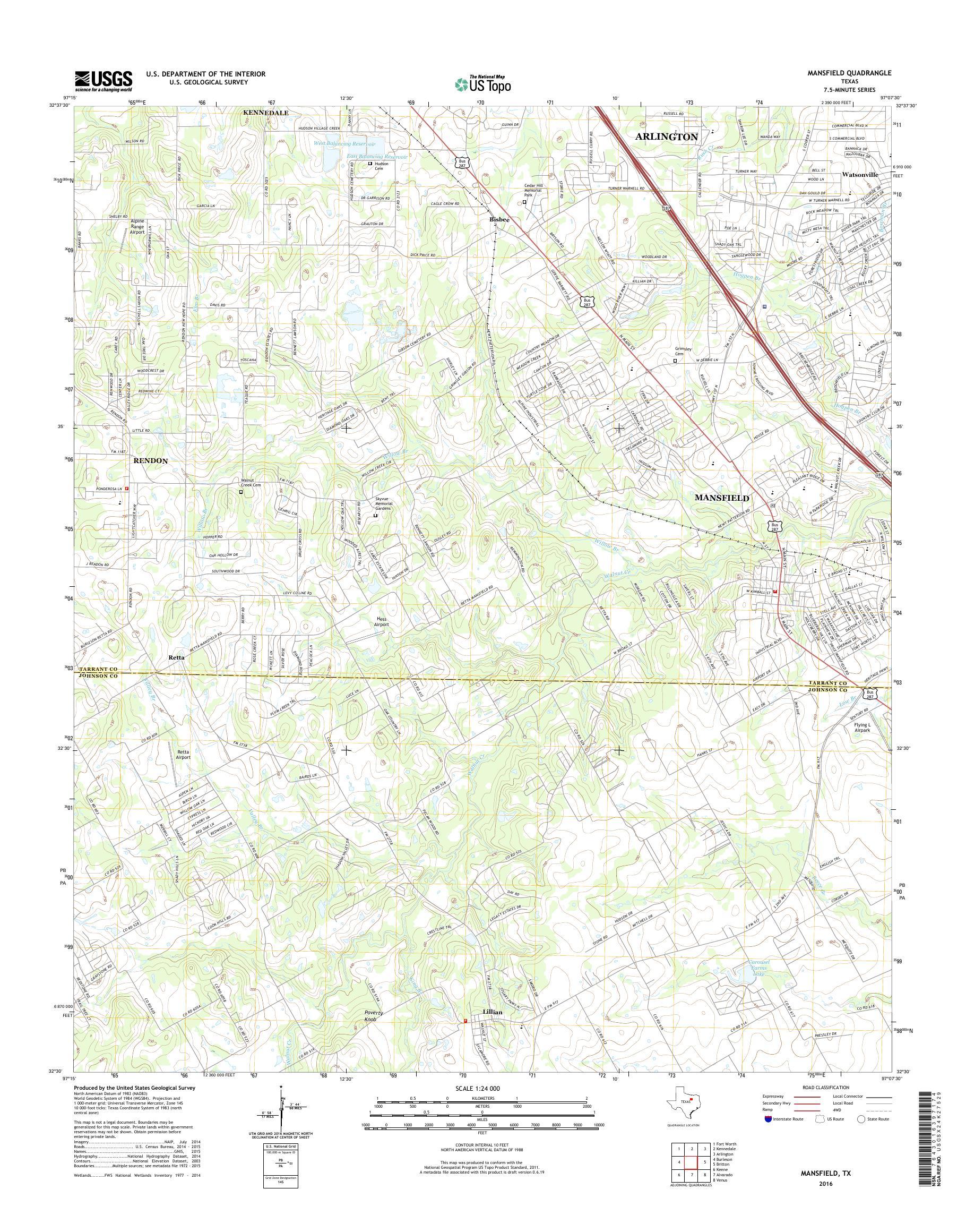 MyTopo Mansfield, Texas USGS Quad Topo Map on