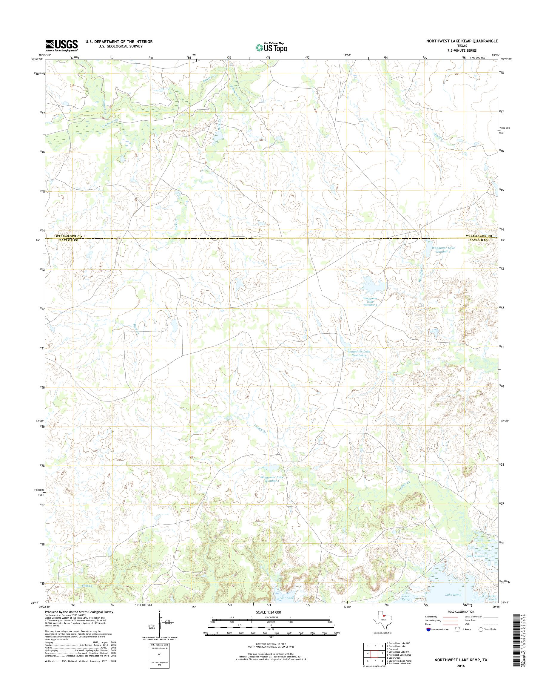 Map Of Northwest Texas.Mytopo Northwest Lake Kemp Texas Usgs Quad Topo Map